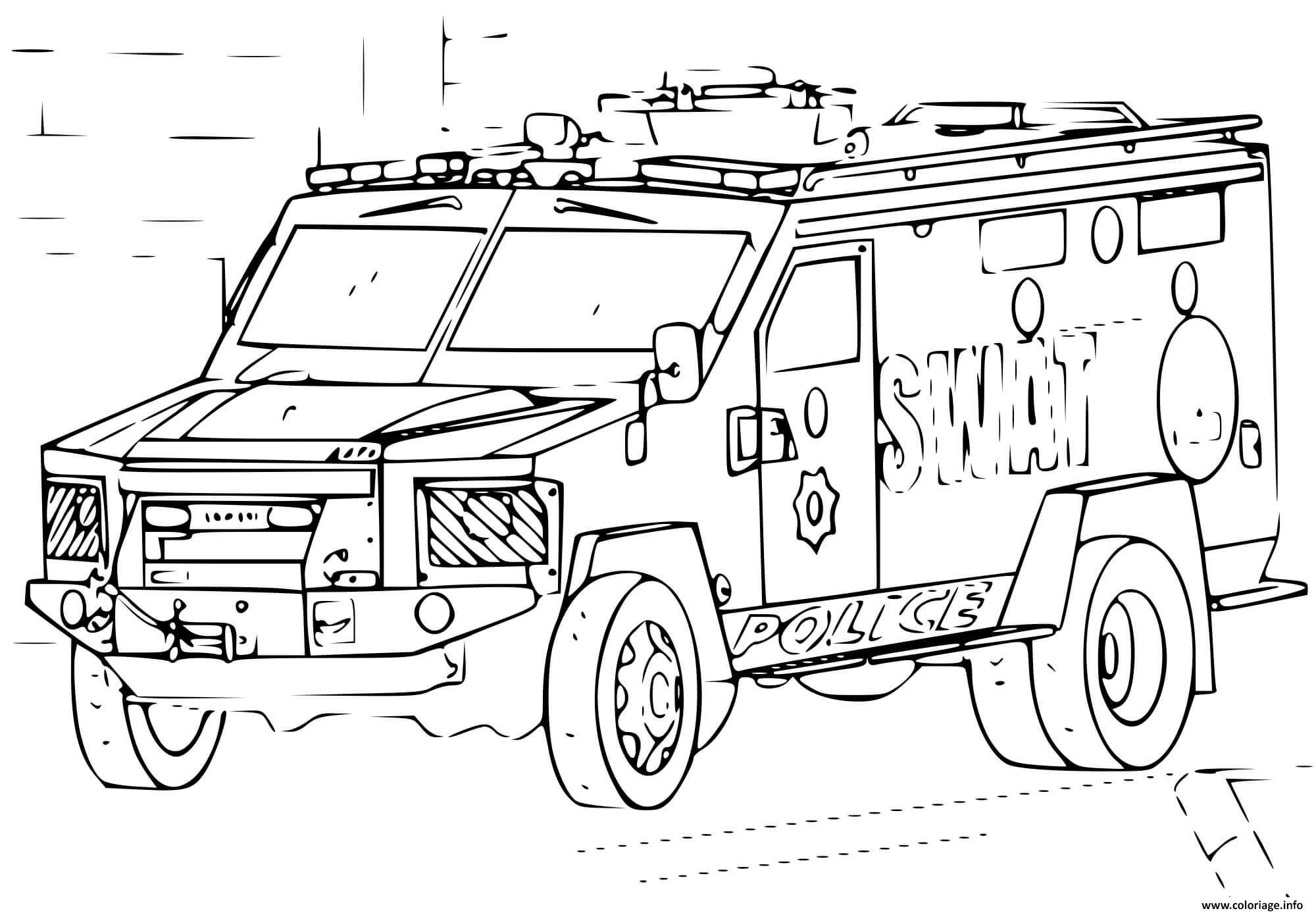 Coloriage voiture SWAT 4x4 Police - JeColorie.com