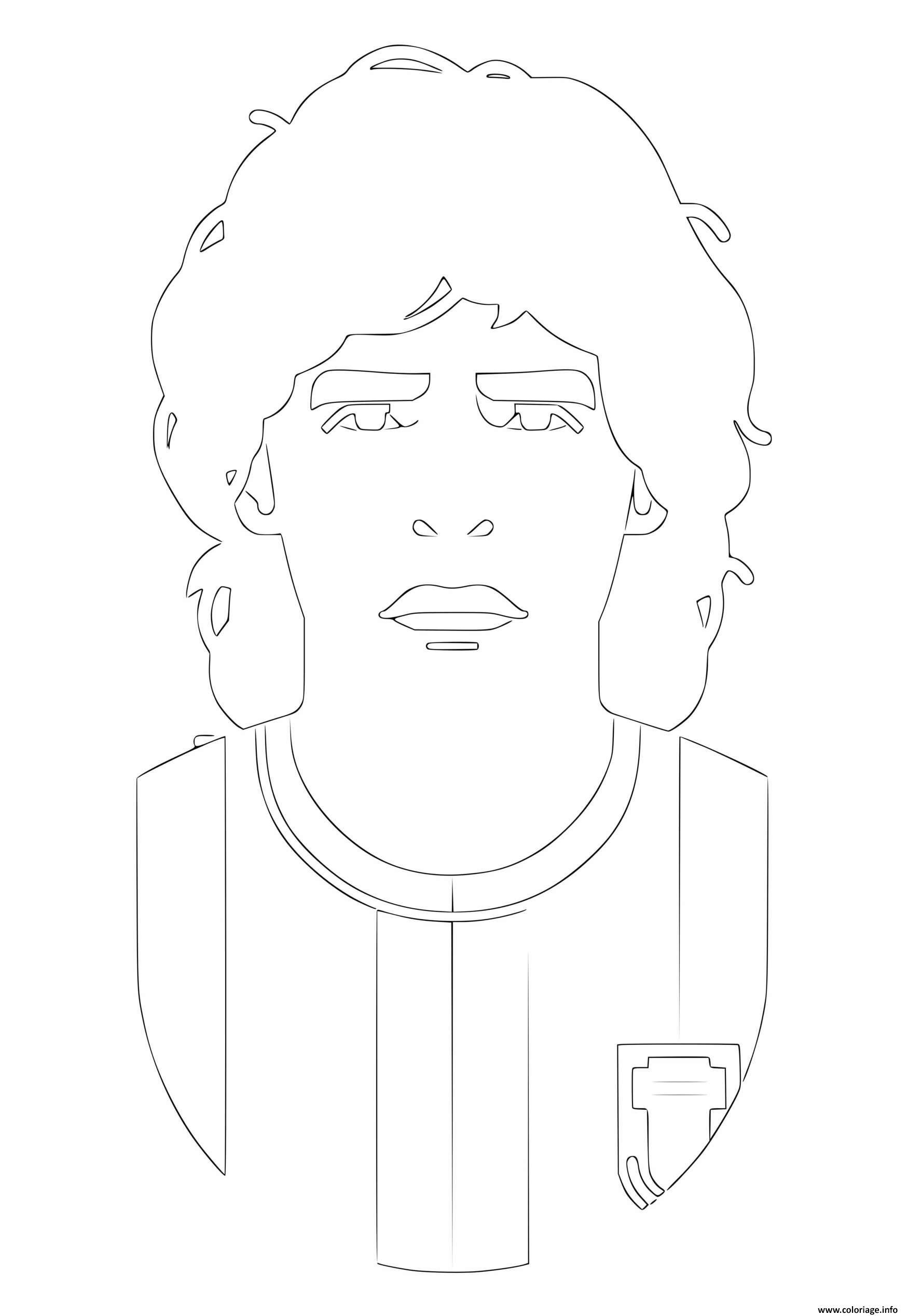 Dessin portrait du joueur de foot maradona diego Coloriage Gratuit à Imprimer