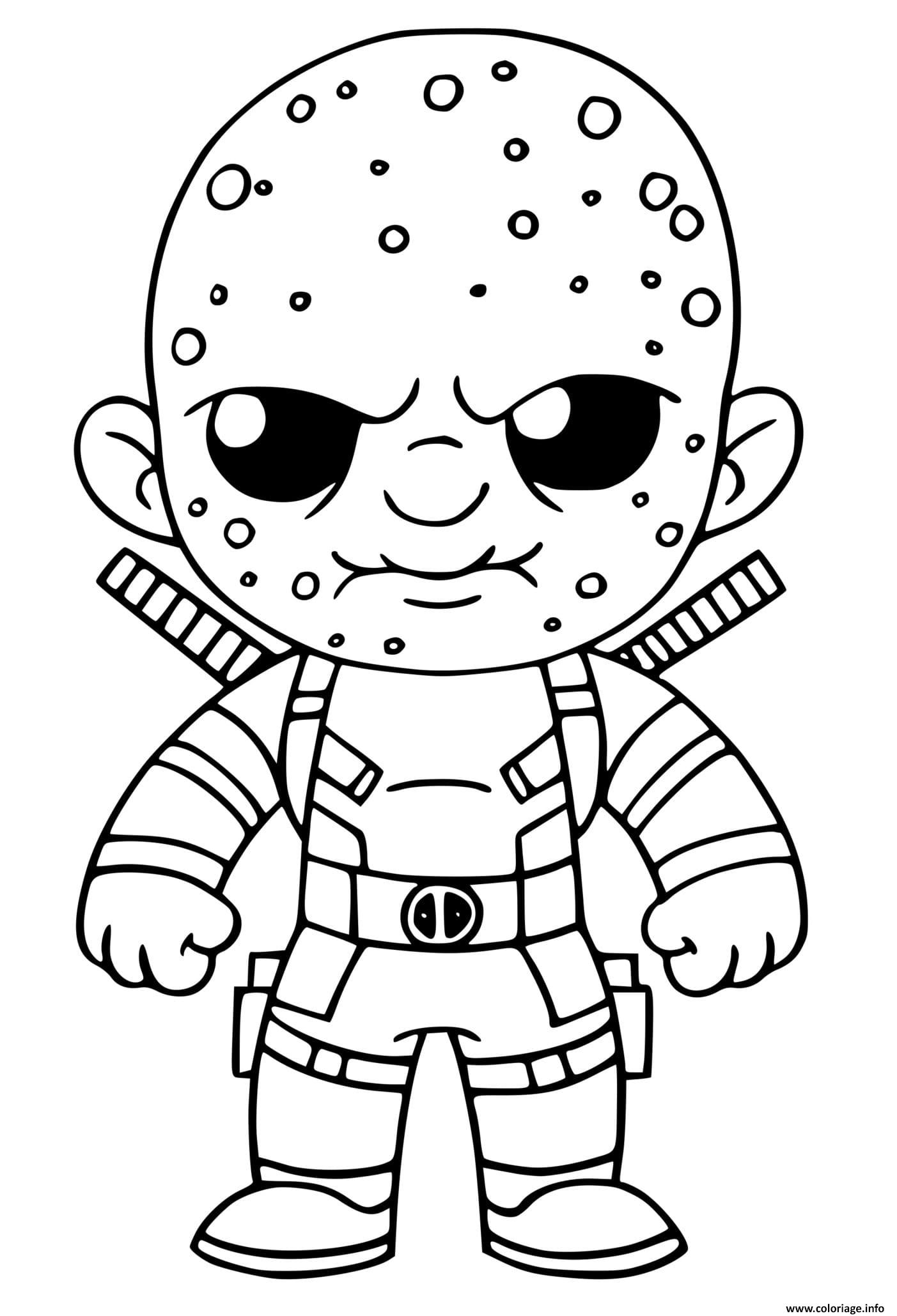 Coloriage Deadpool Unmasked Fortnite - JeColorie.com