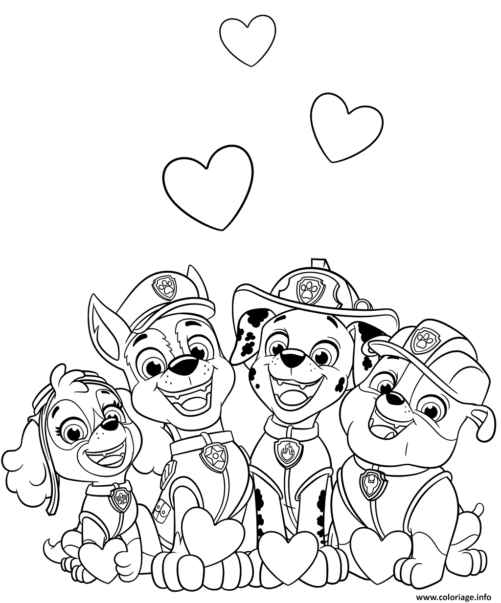 coloriage pat patrouille saint valentin avec des coeurs