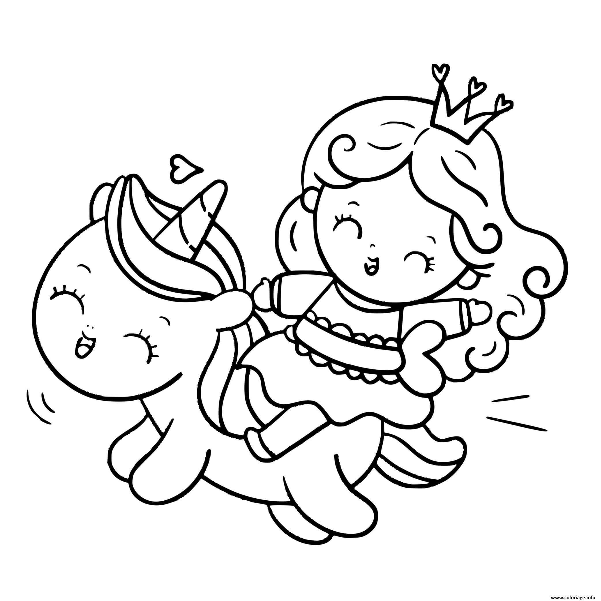 Coloriage licorne kawaii princesse et coeurs - JeColorie.com