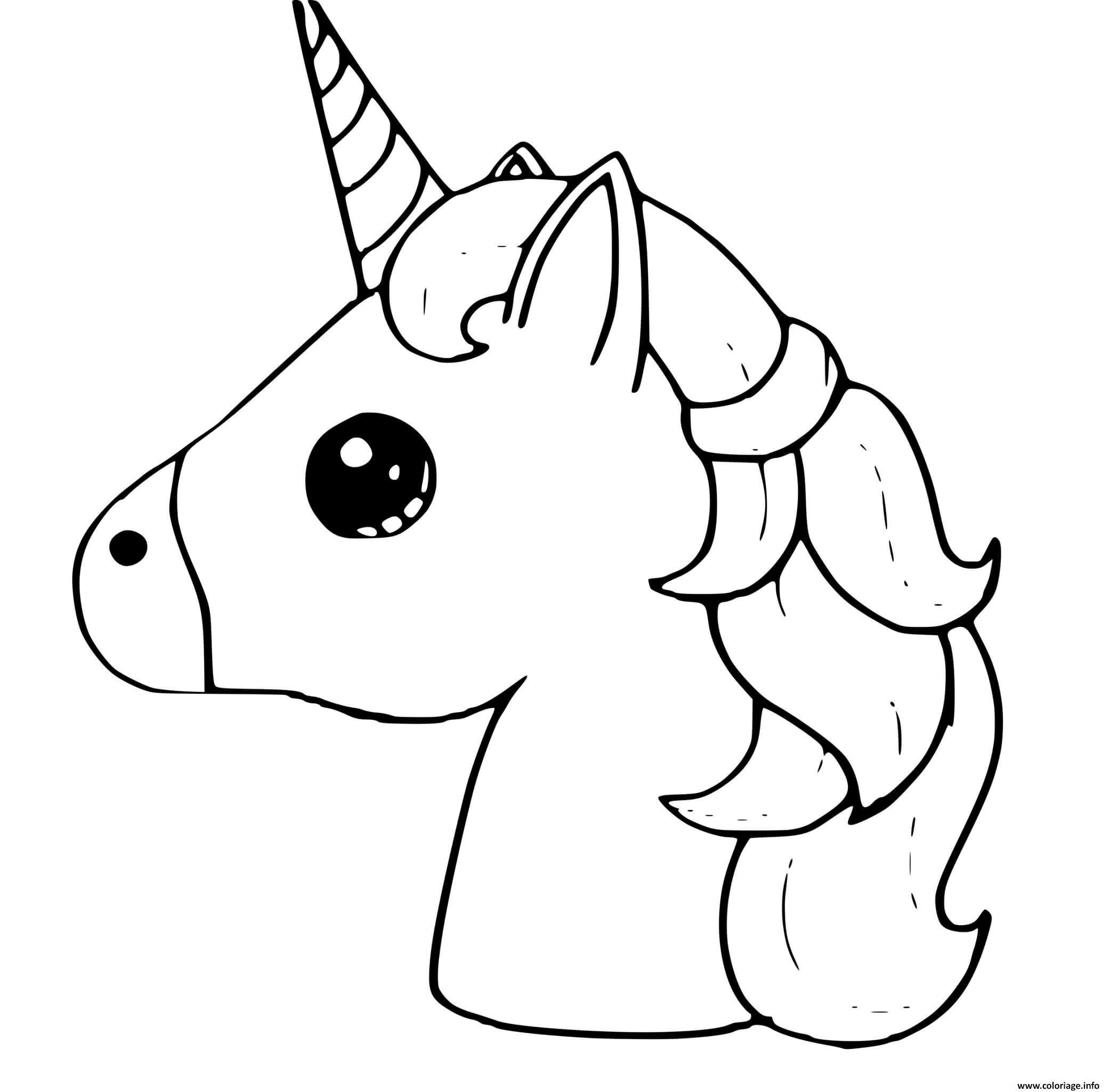 Coloriage Licorne Emoji Kawaii Dessin Licorne Kawaii à ...