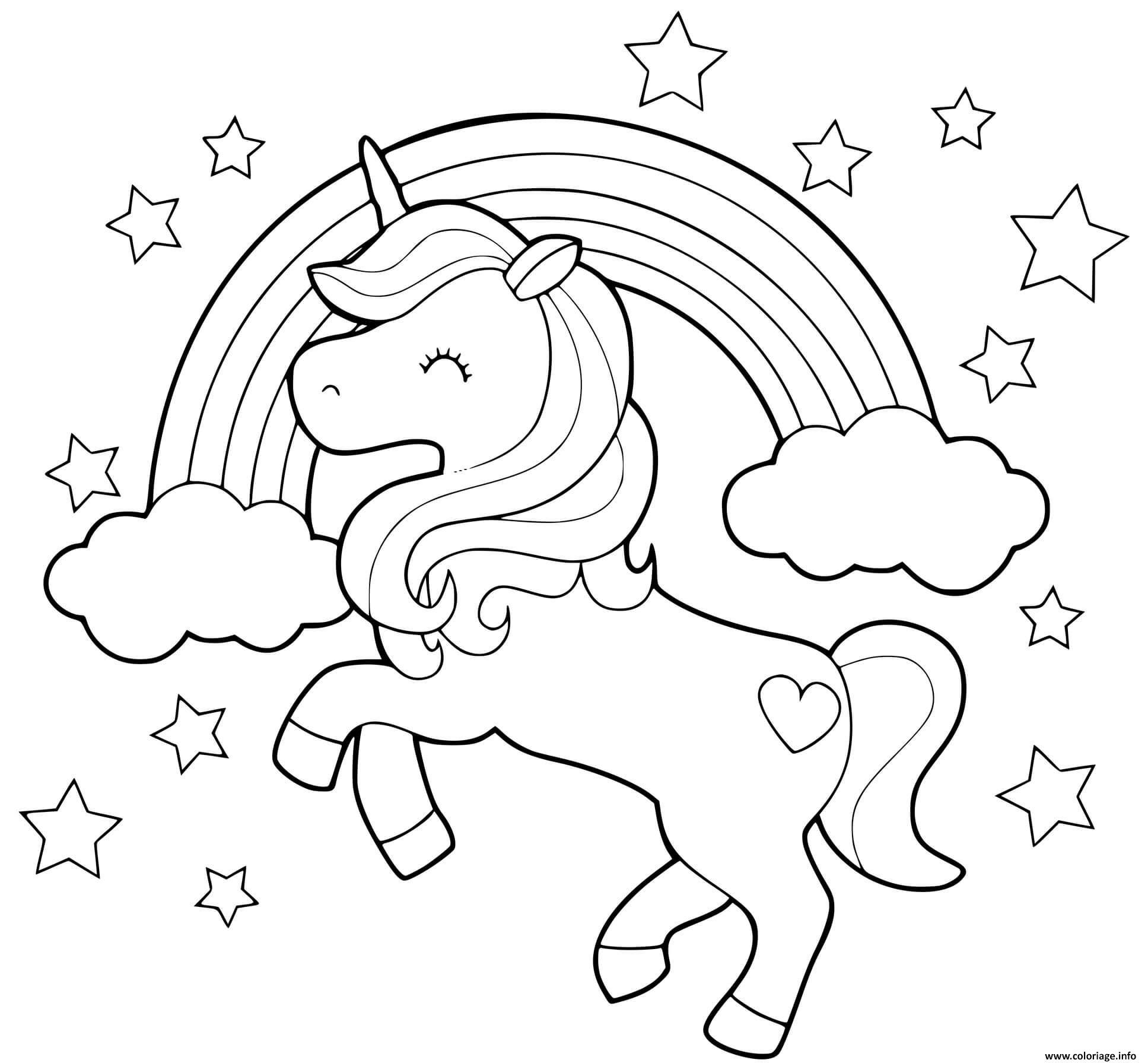 Coloriage licorne arc en ciel et etoiles en mode galop   JeColorie.com