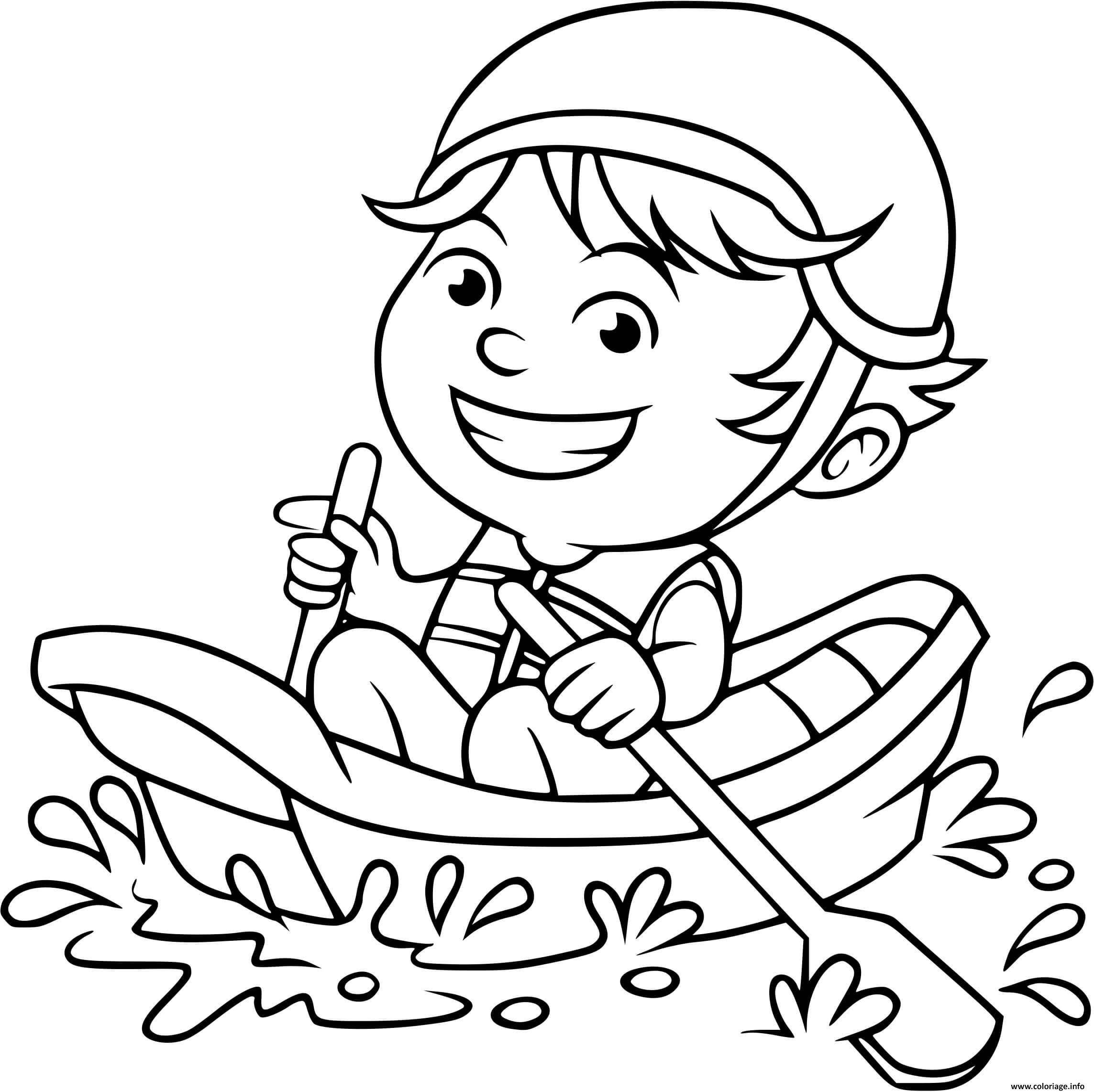 Coloriage Un Enfant Navigue En Toute Securite Jecolorie Com