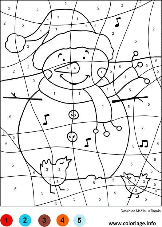 Coloriage Magique Bonhomme De Neige Noel Chiffre Numero Jecolorie Com