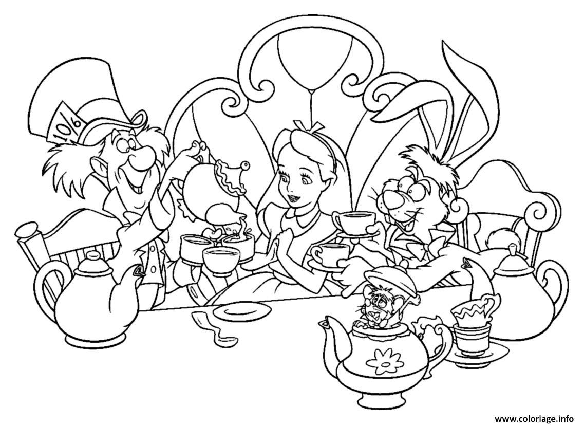 Coloriage Alice Au Pays Des Merveilles Jeune Fille Reveuse 1951 Dessin Disney Walt A Imprimer