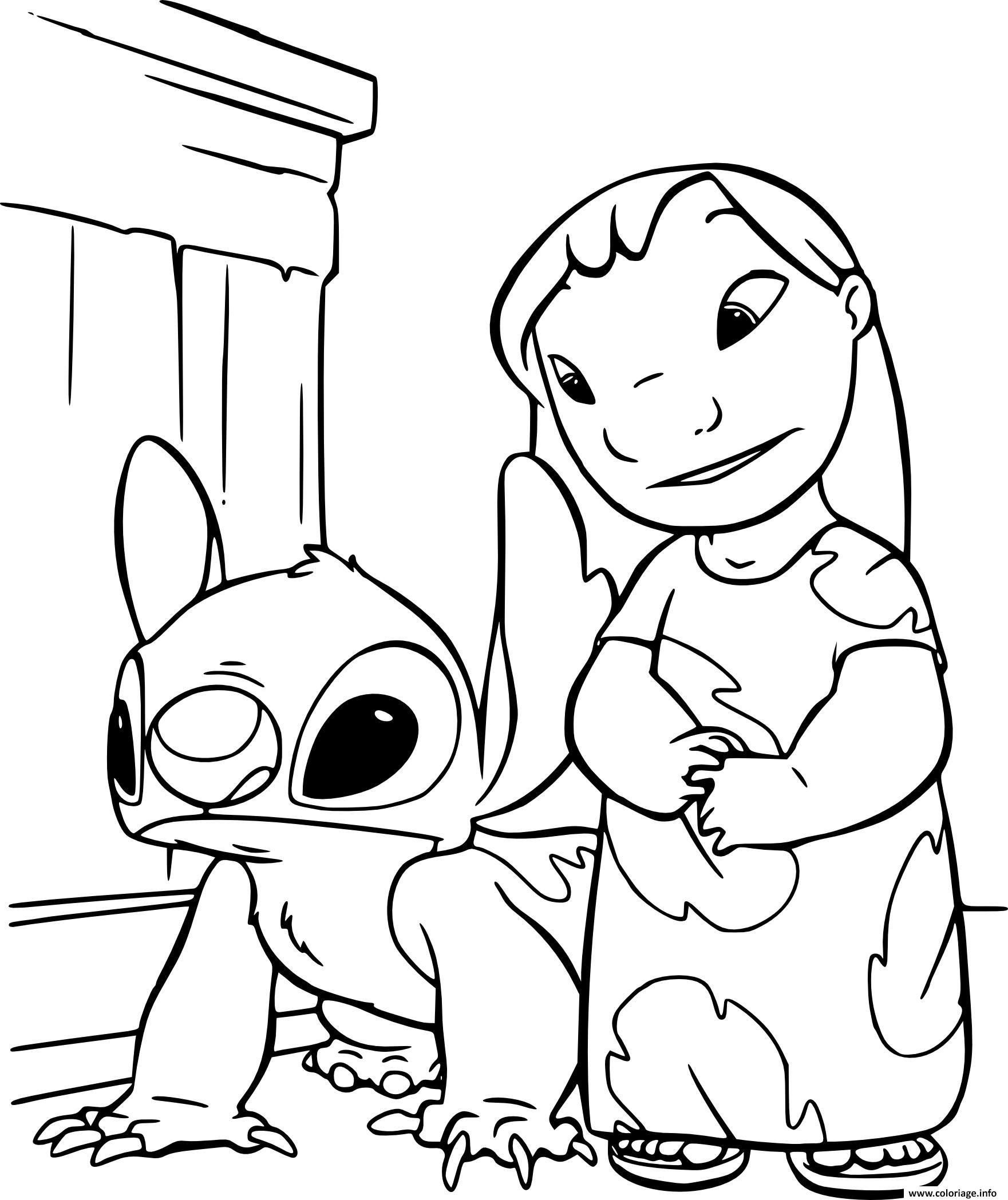 Coloriage Lilo Et Stitch Extraterrestre De Couleur Bleue Dessin Disney Walt A Imprimer