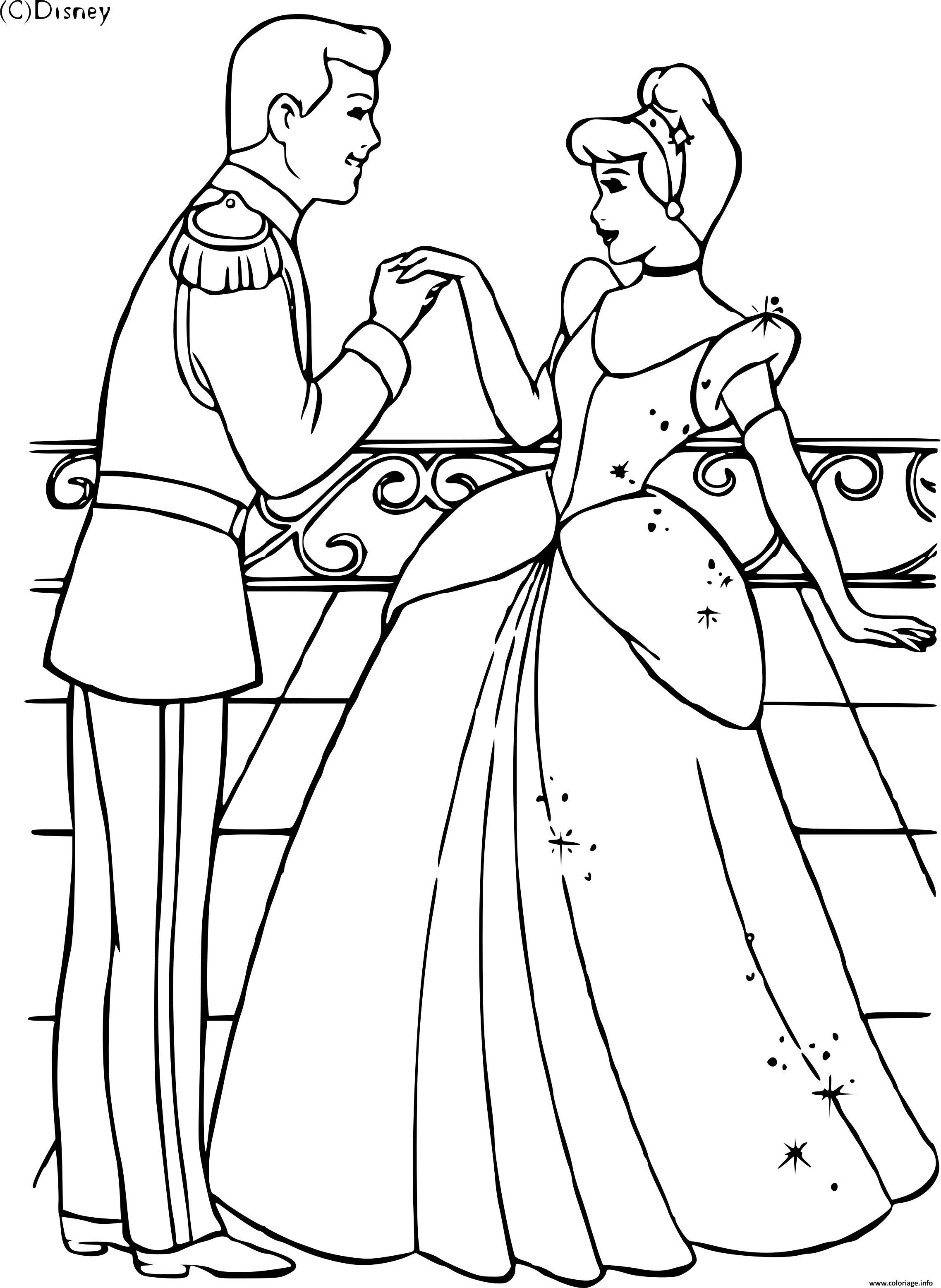 Coloriage Cendrillon Et Son Prince Dessin Cendrillon A Imprimer