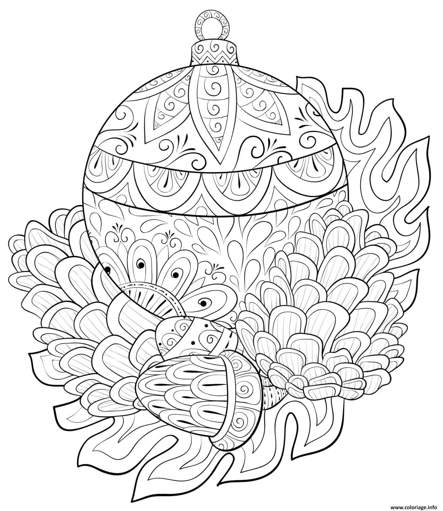 Coloriage decorations boule de noel mandala anti stress ...