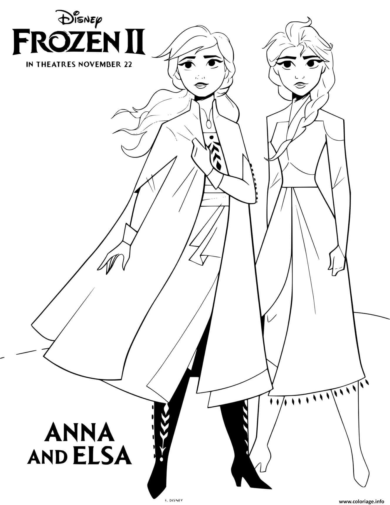 Coloriage Reine Des Neiges 2 Anna Et Elsa Film Disney ...