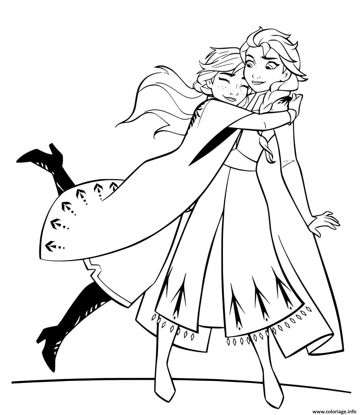 Coloriage Anna Et Elsa Hugging Jecolorie Com