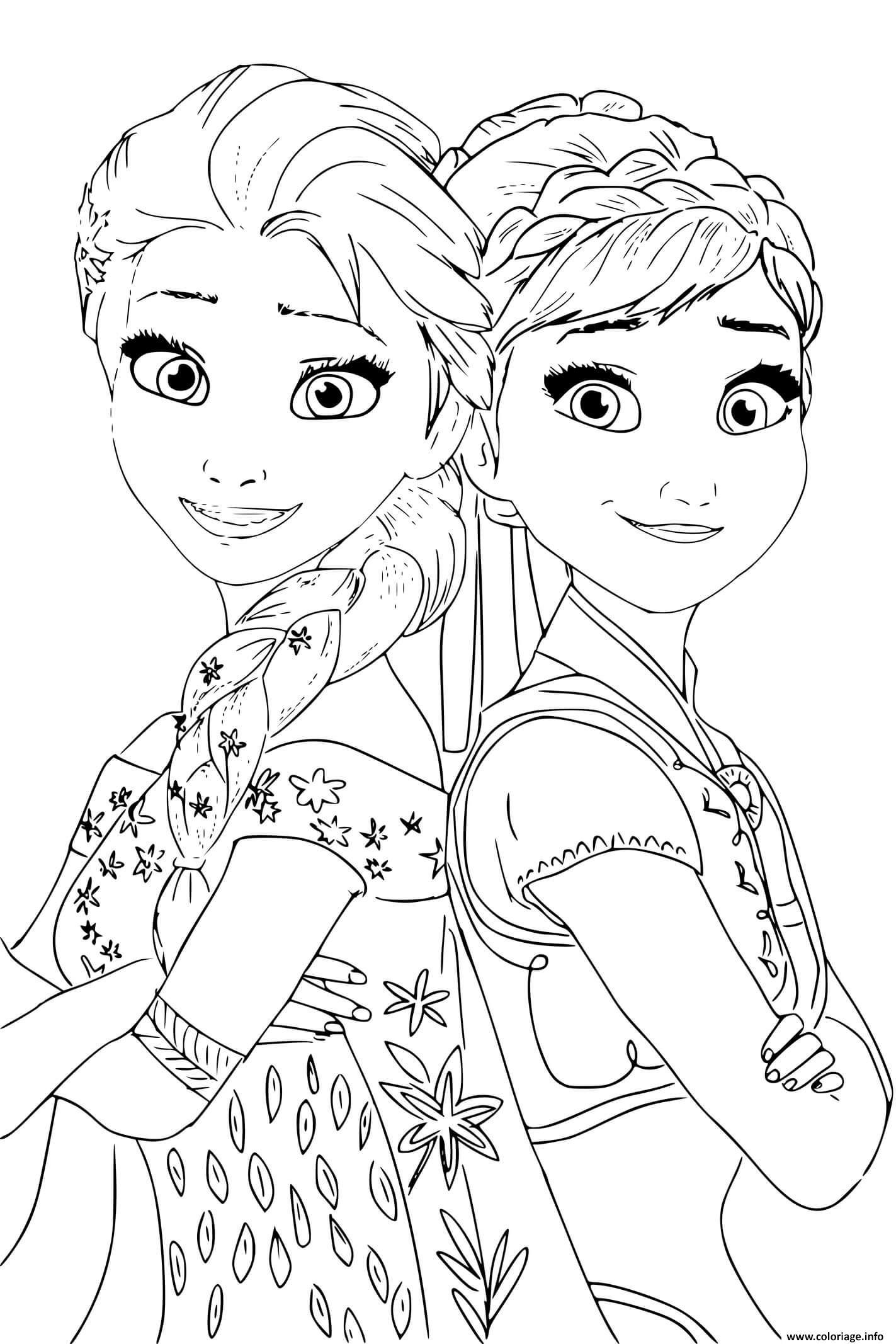 Coloriage Elsa Anna Princess De Reine Des Neiges 2 Jecolorie Com