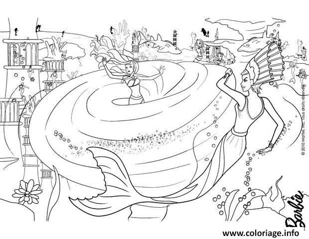 Dessin barbie sirene est prise dans une tournade par une mechante sirene Coloriage Gratuit à Imprimer