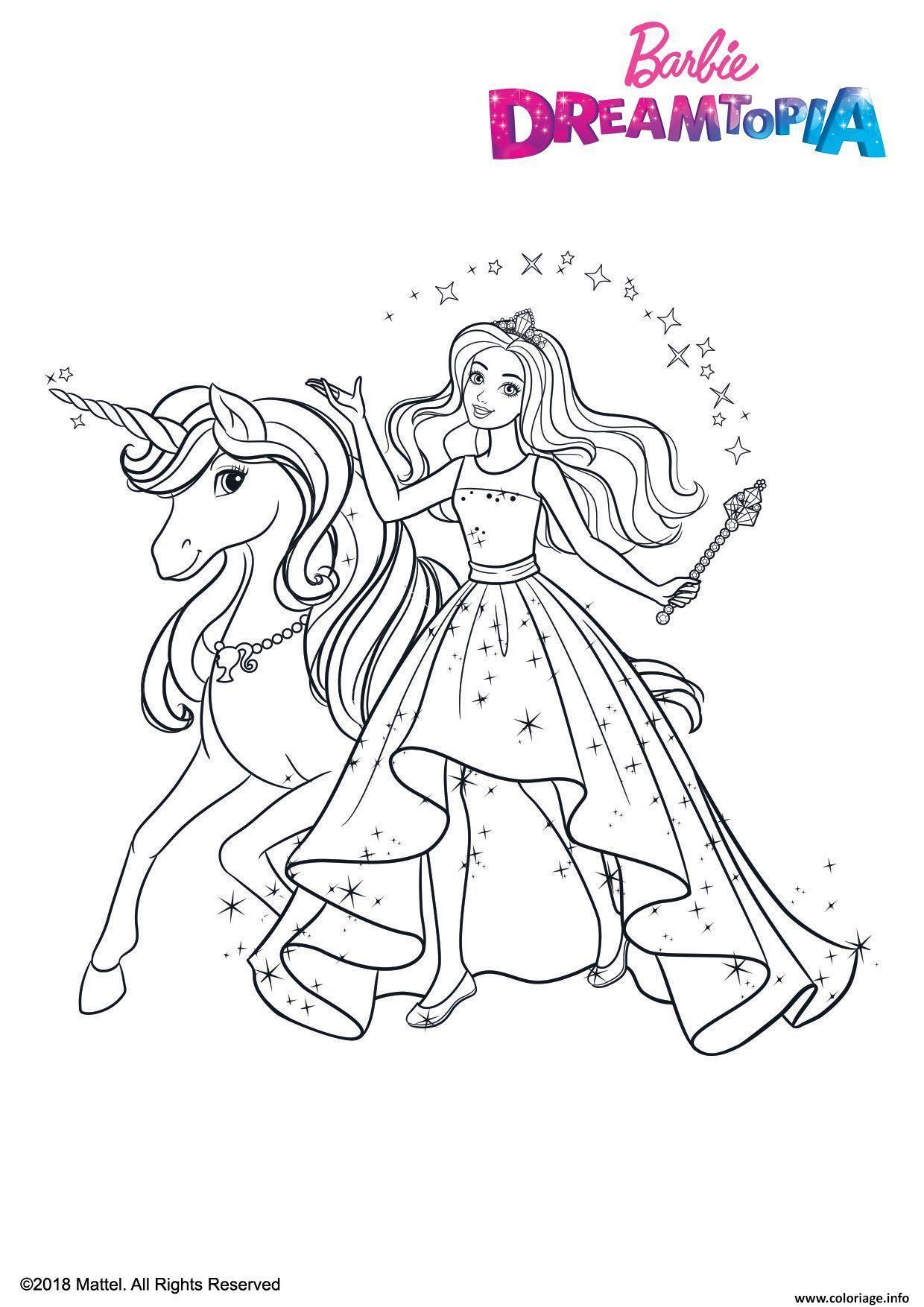 Coloriage Princesse Barbie Et La Licorne Ailee Dessin Barbie à ...