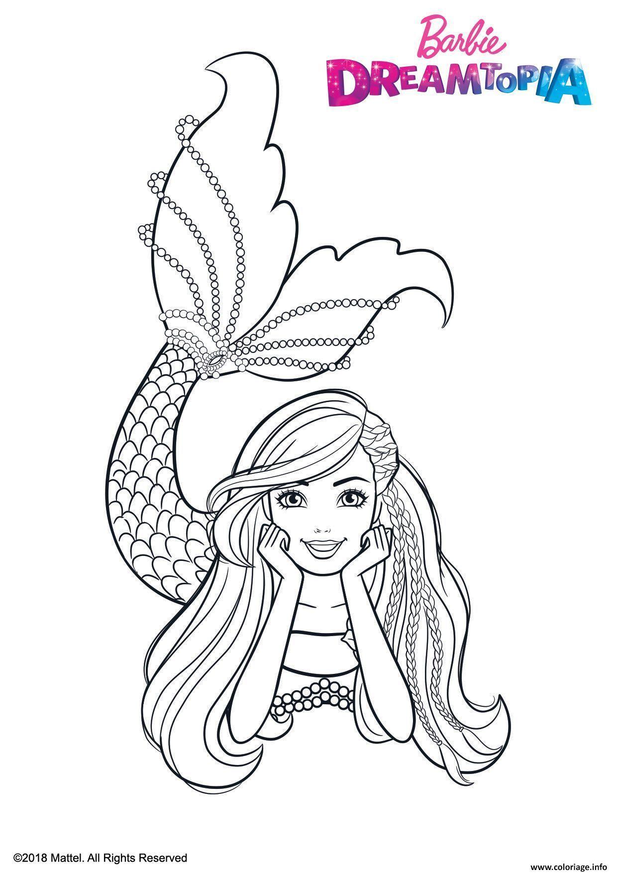 Coloriage Barbie Sirene Multicolore Dessin Barbie à imprimer