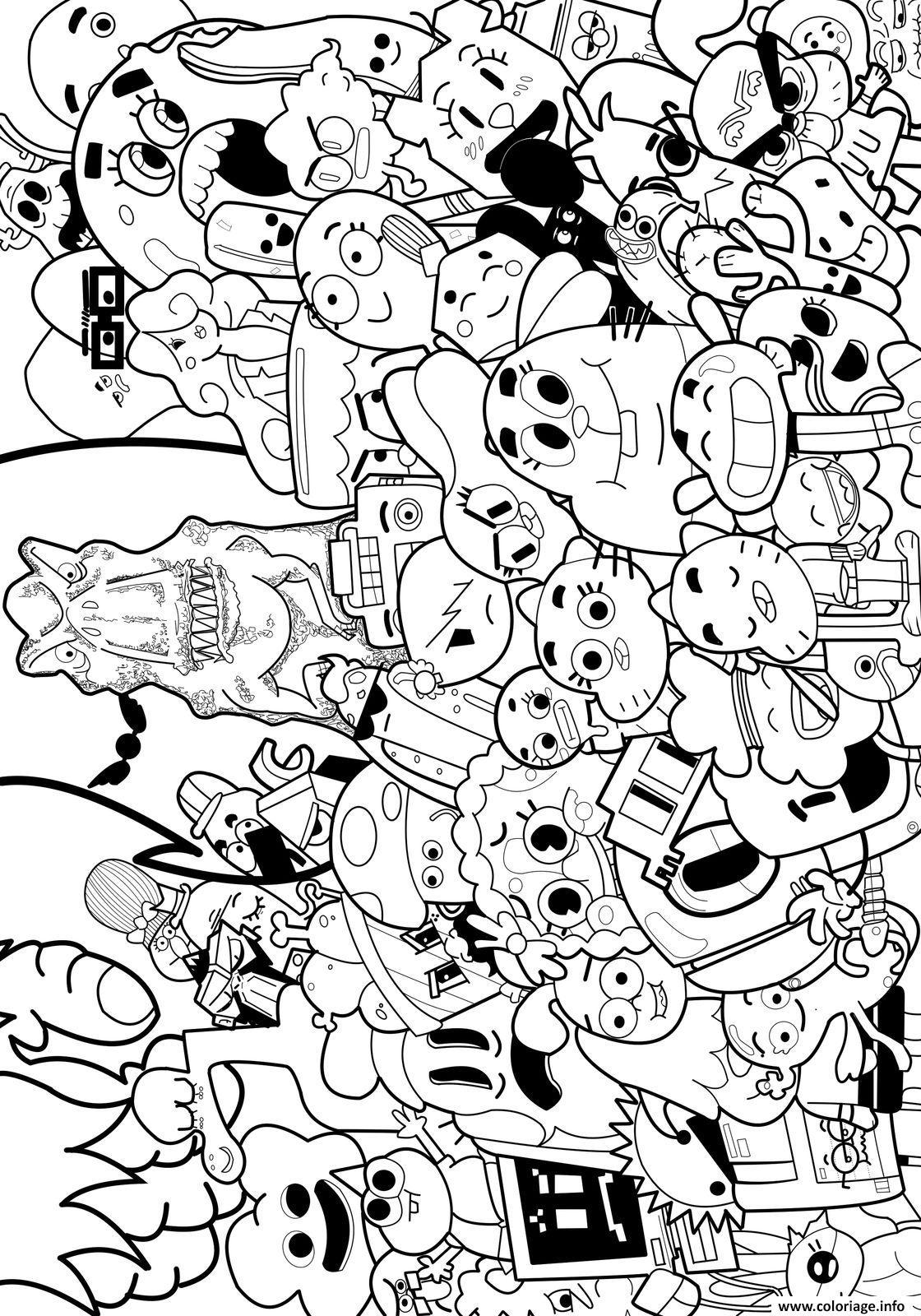 Dessin le monde merveilleux de gumball cartoon tele Coloriage Gratuit à Imprimer