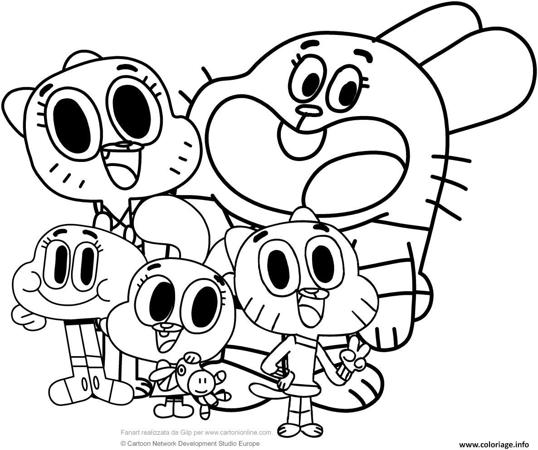 Dessin la grande famille de gumball cartoon Coloriage Gratuit à Imprimer
