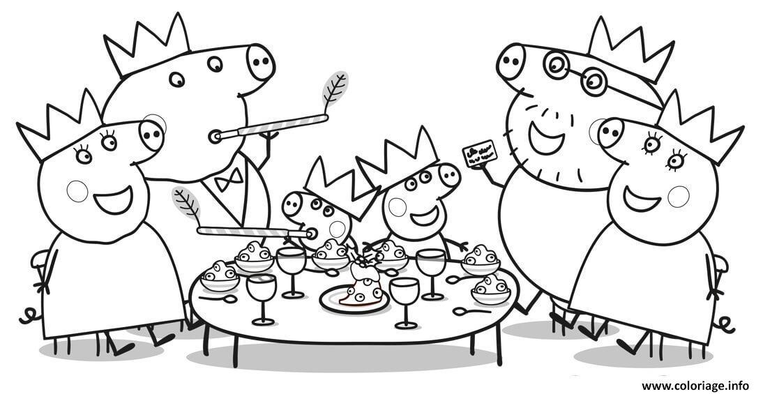 Dessin diner de noel de la famille peppa pig pour le 25 decembre Coloriage Gratuit à Imprimer