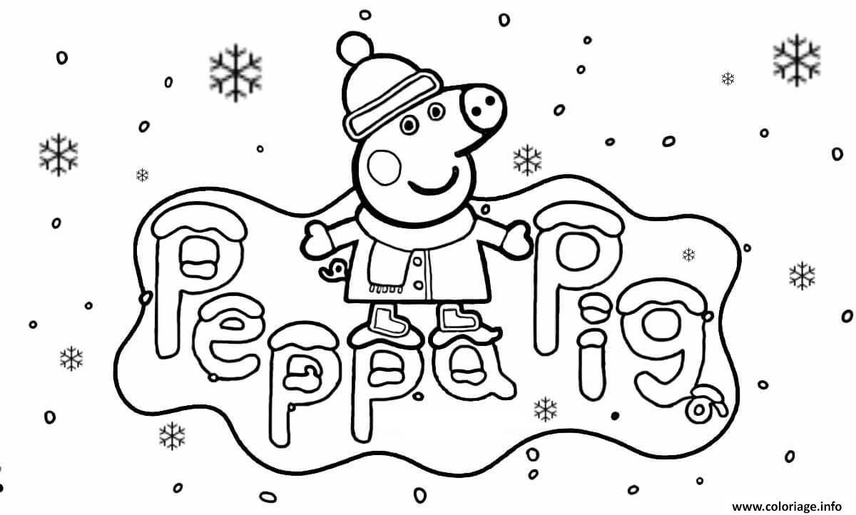 Dessin peppa pig hiver vacance de noel Coloriage Gratuit à Imprimer