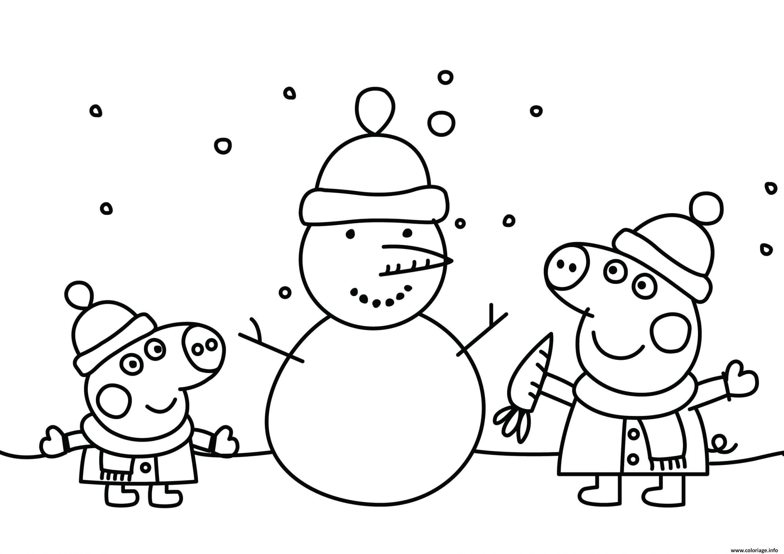 Dessin peppa pig noel font un bonhomme de neige Coloriage Gratuit à Imprimer