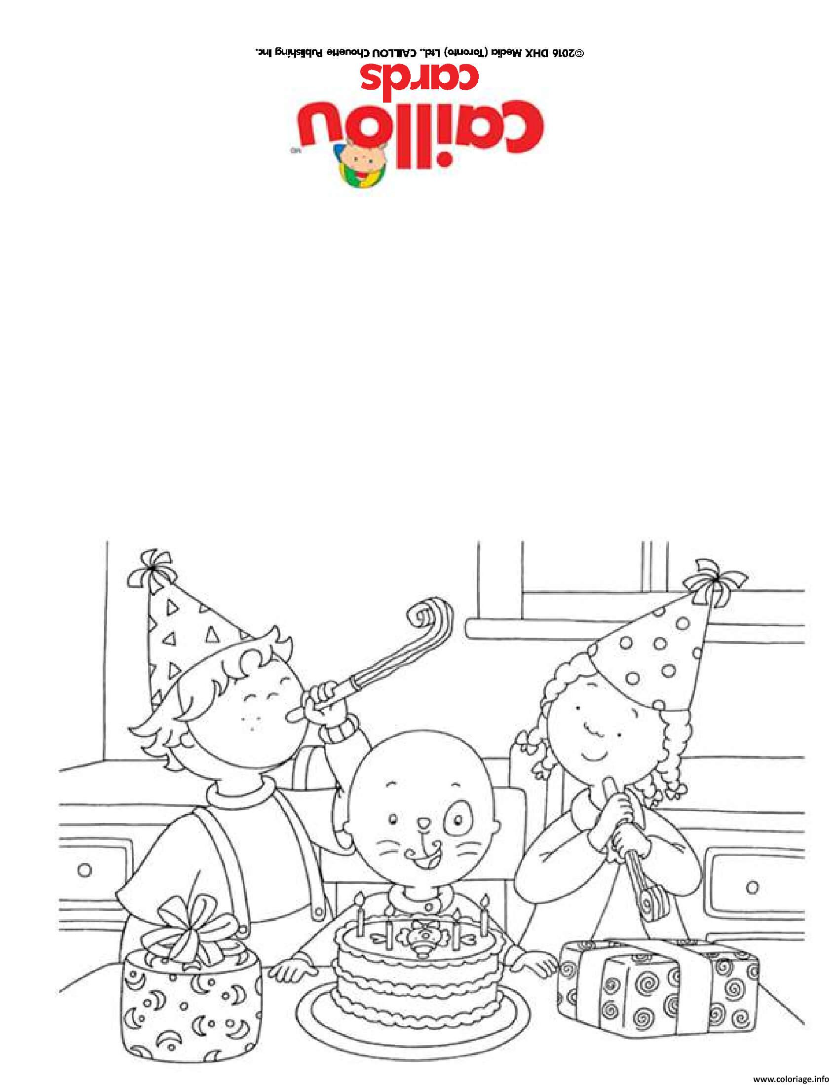 Coloriage Carte De Souhaits Bonne Fete Joyeux Anniversaire Caillou Jecolorie Com