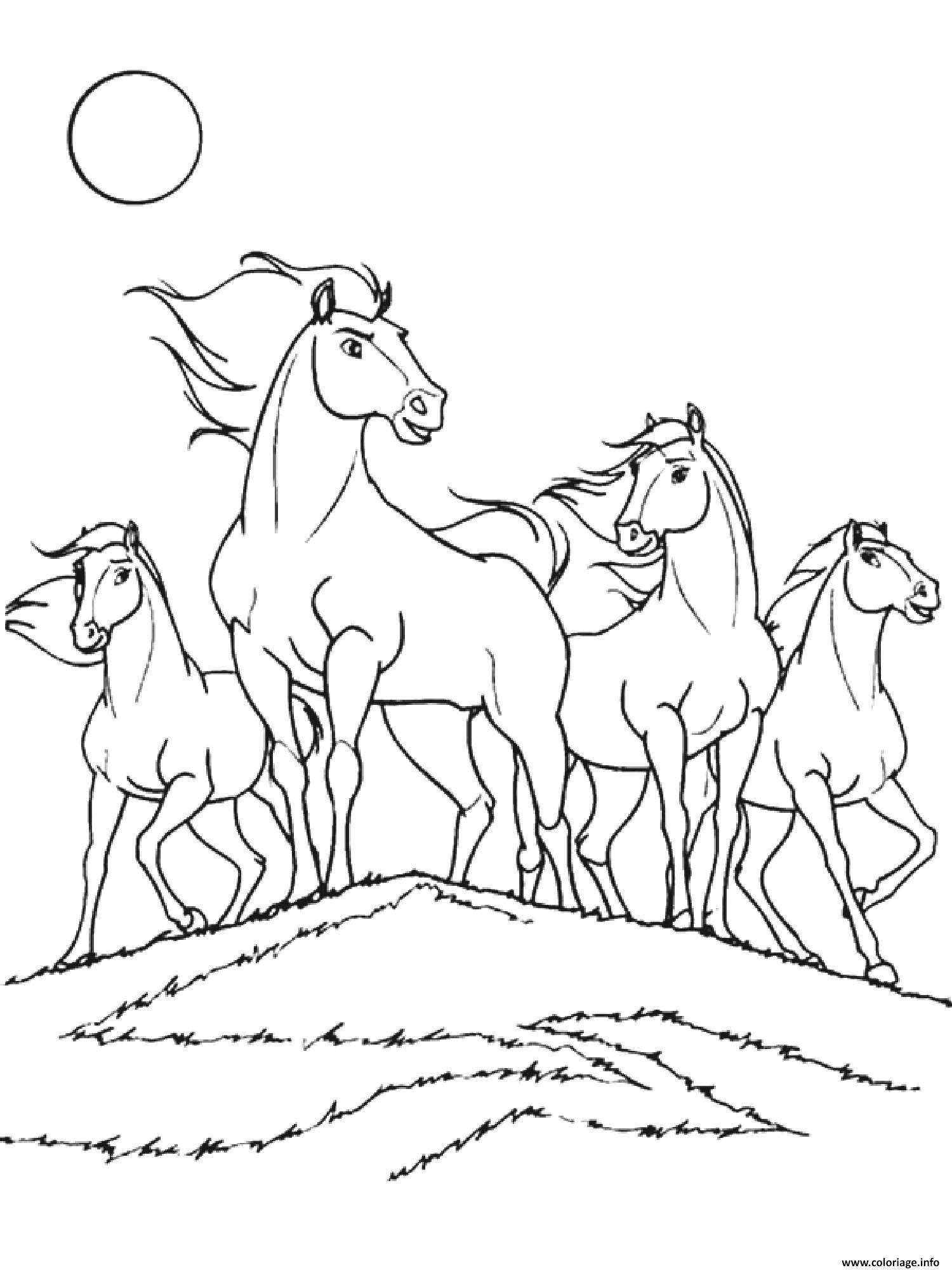 Dessin chevaux spirit cheval mustang sauvage amerique du nord Coloriage Gratuit à Imprimer