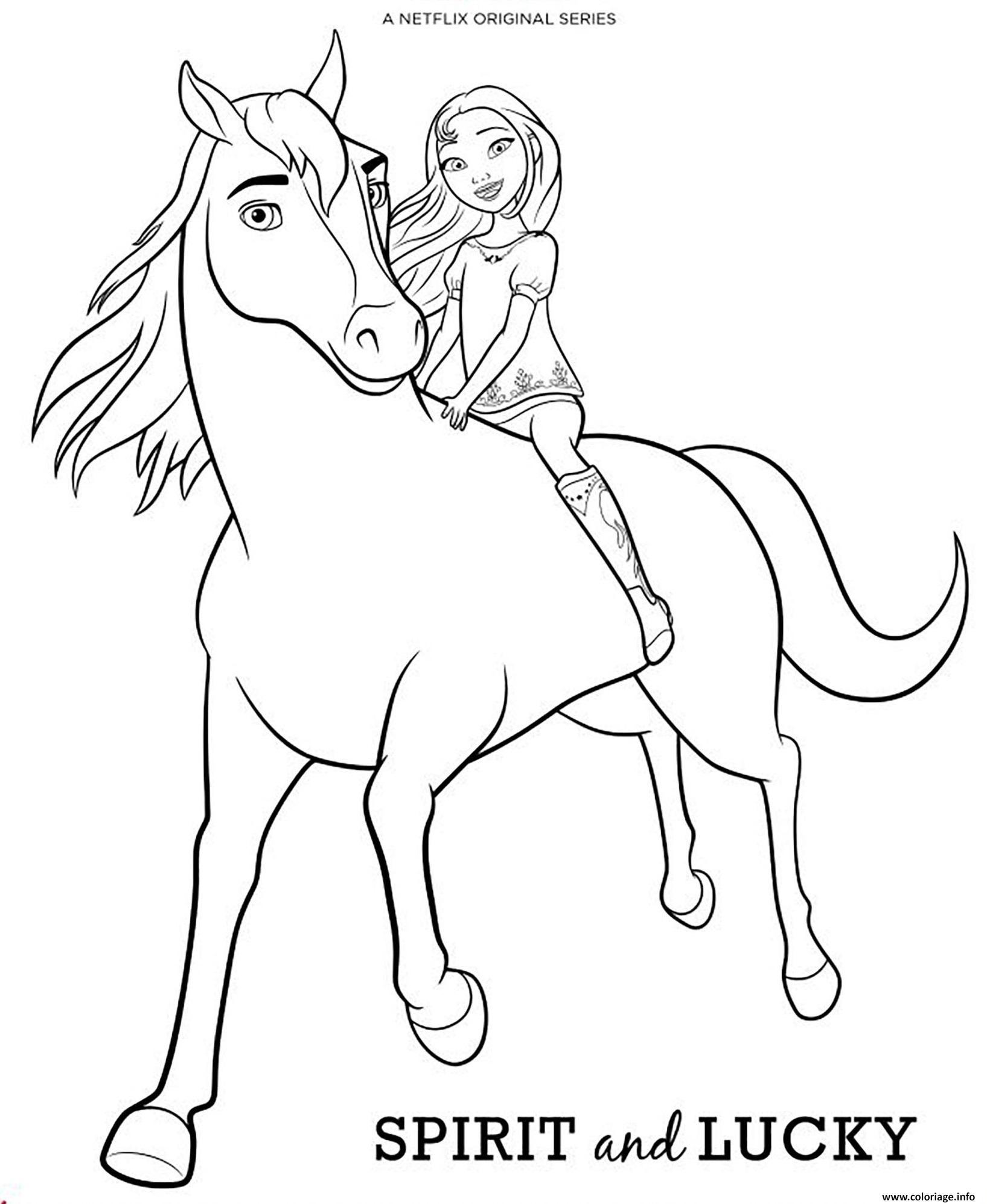 Dessin cheval spirit et lucky Coloriage Gratuit à Imprimer