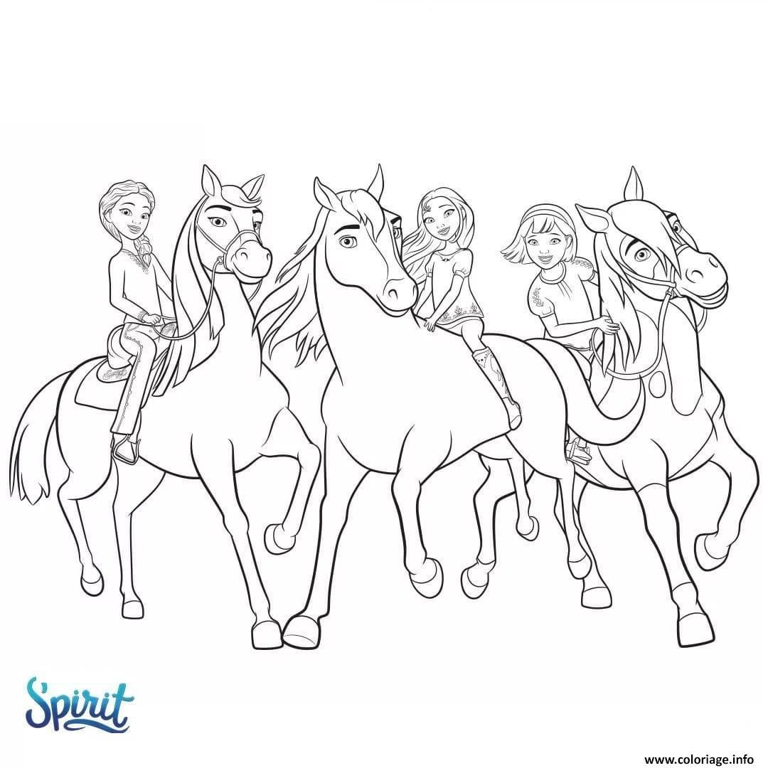 Dessin cheval spirit etalon des plaines  film animation Coloriage Gratuit à Imprimer