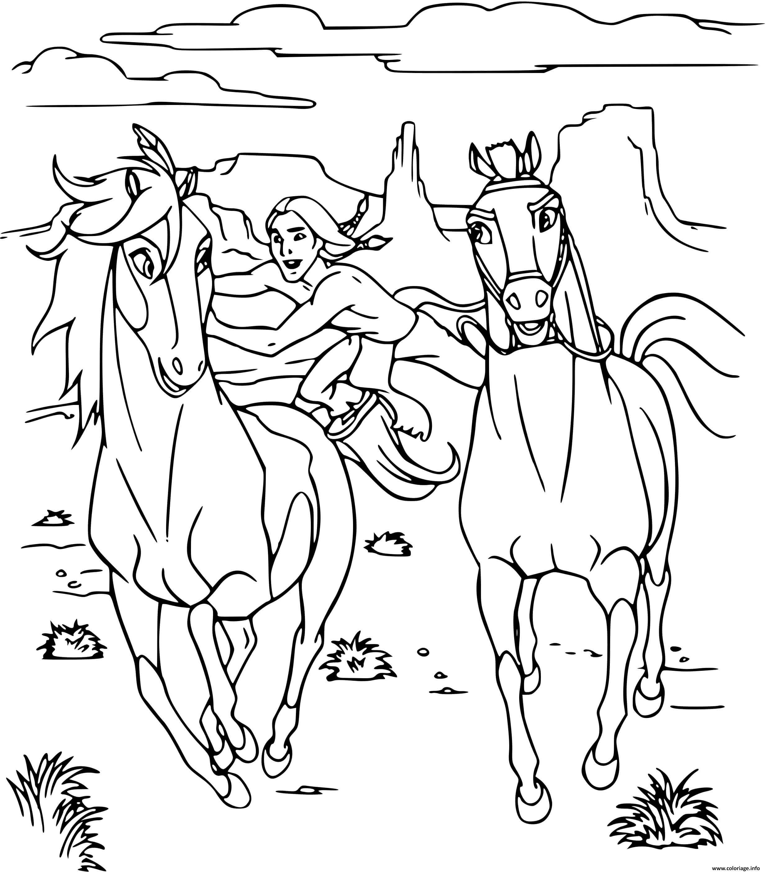 Dessin spirit fait la course avec un cheval Coloriage Gratuit à Imprimer