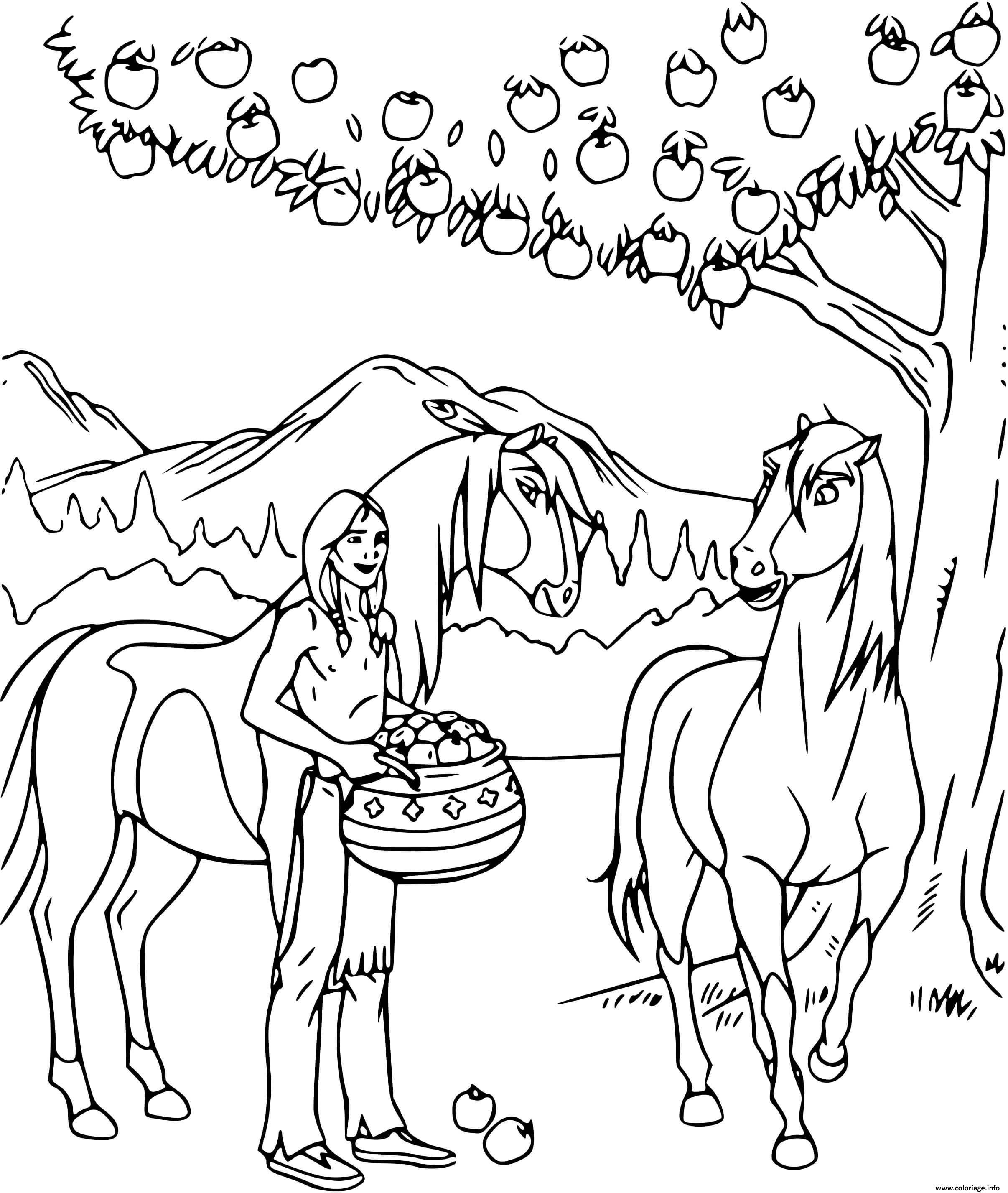 Dessin spirit et les indiens ramassent des pommes Coloriage Gratuit à Imprimer