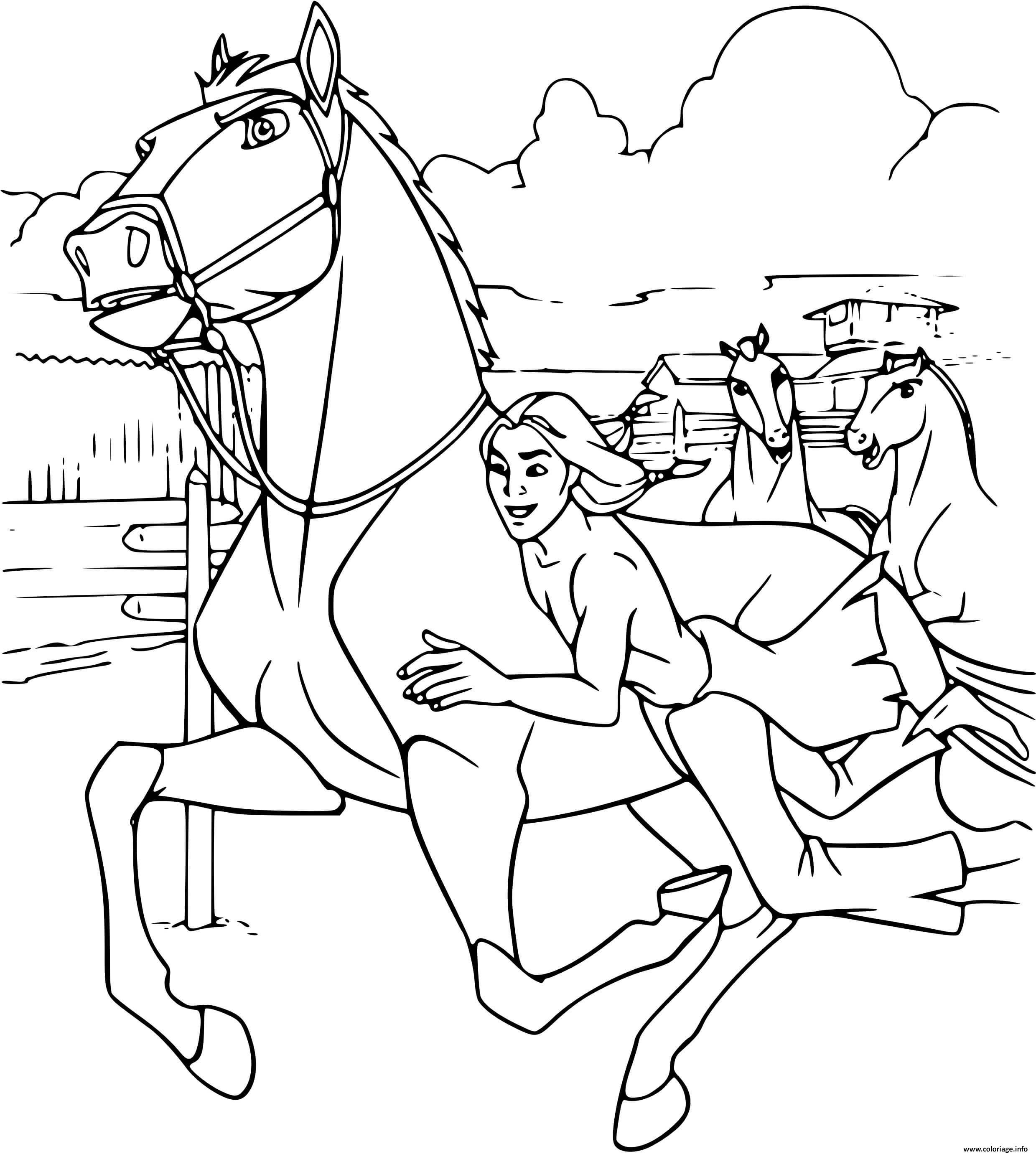 Dessin spirit pret pour la course avec son chevalier Coloriage Gratuit à Imprimer