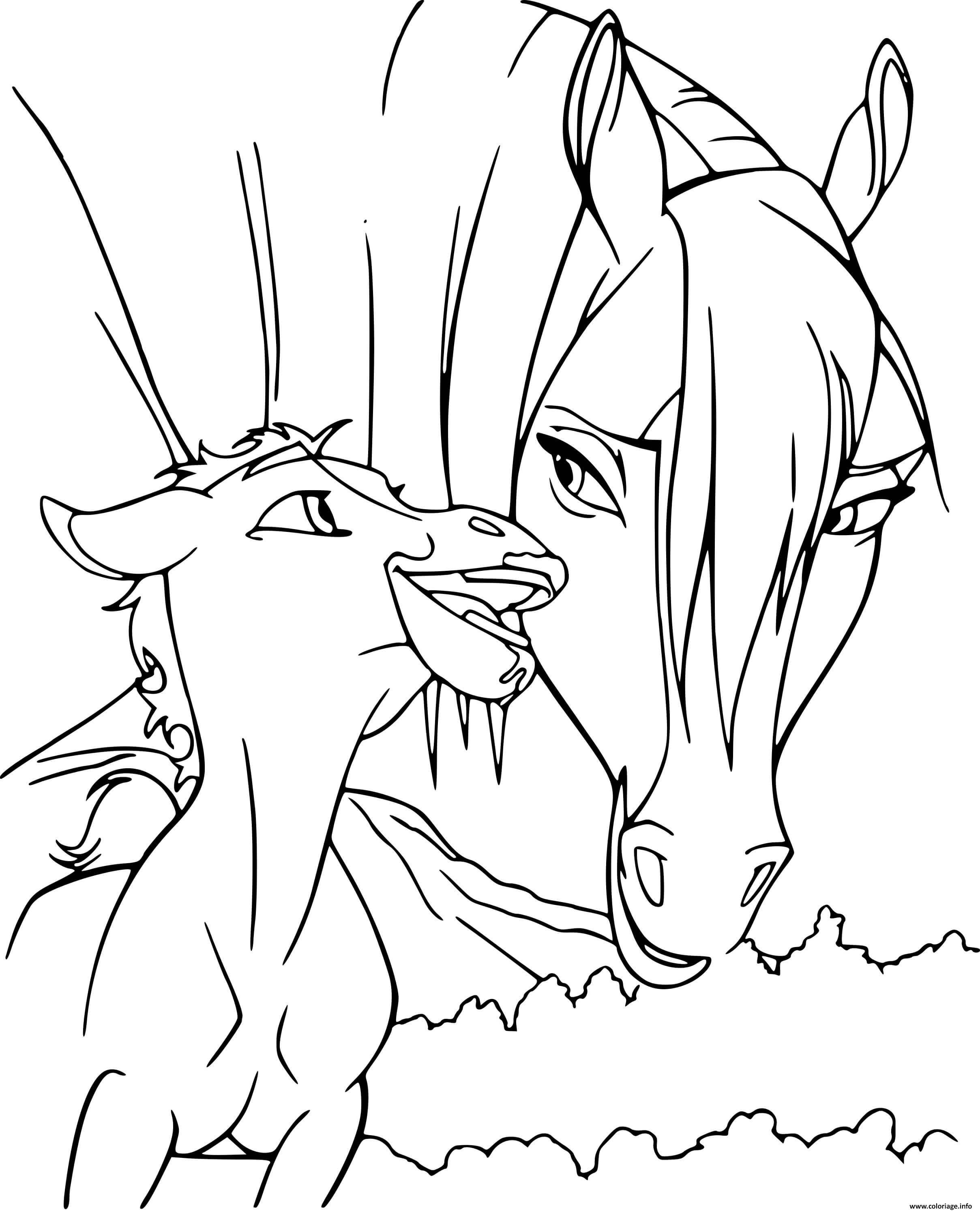 Dessin spirit mamn et son bebe cheval Coloriage Gratuit à Imprimer