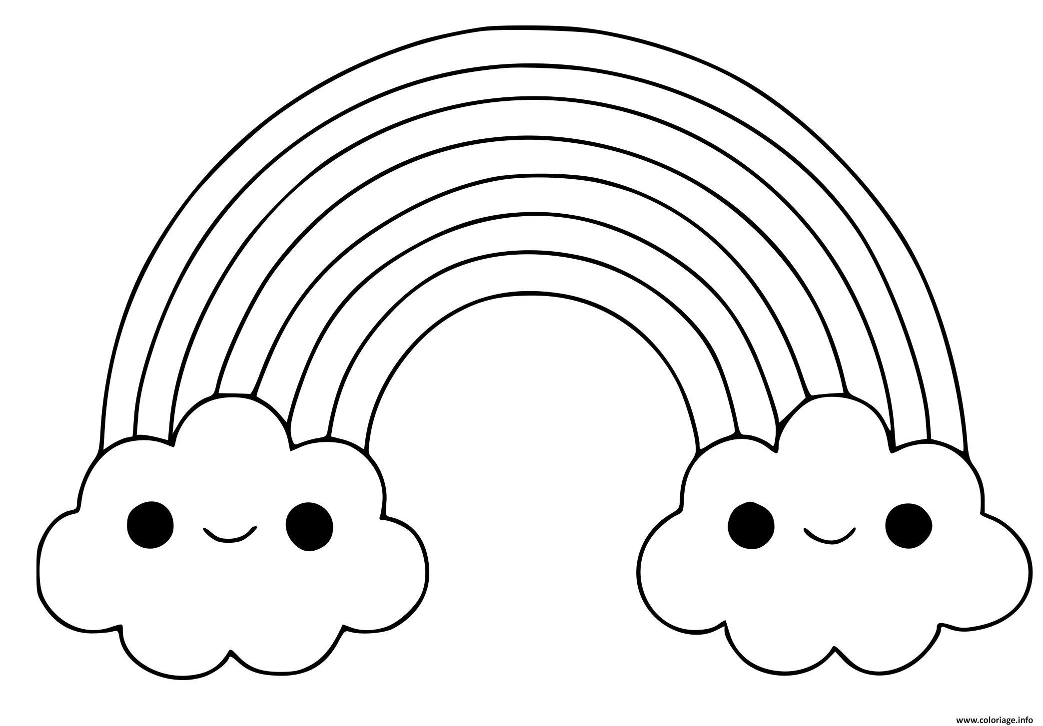 Dessin arc en ciel avec nuages Coloriage Gratuit à Imprimer