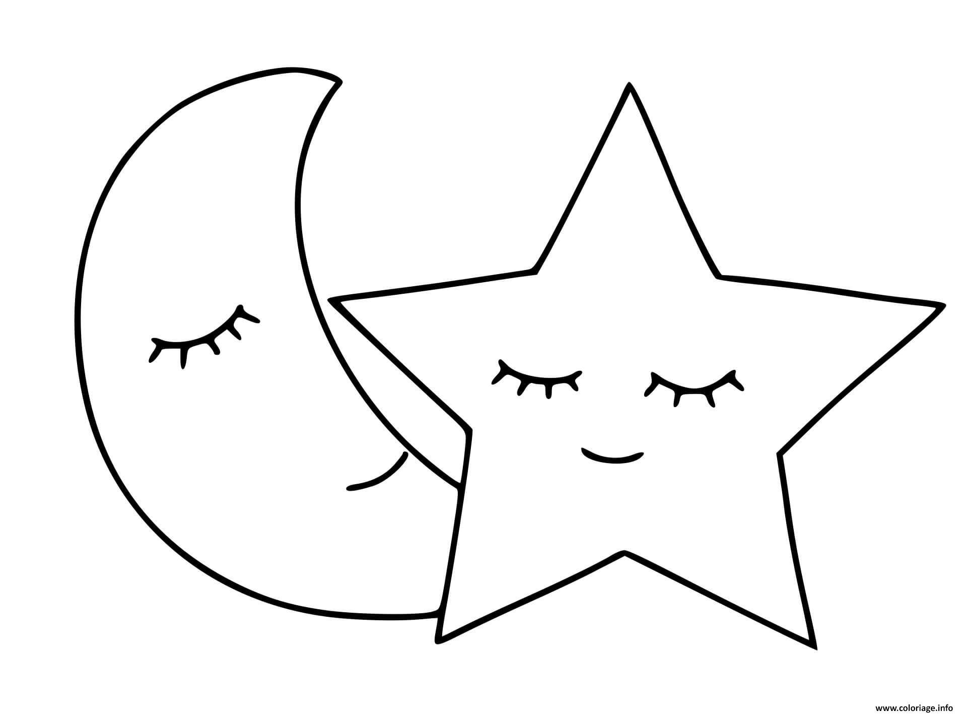 Dessin lune et etoile font un sommeil Coloriage Gratuit à Imprimer