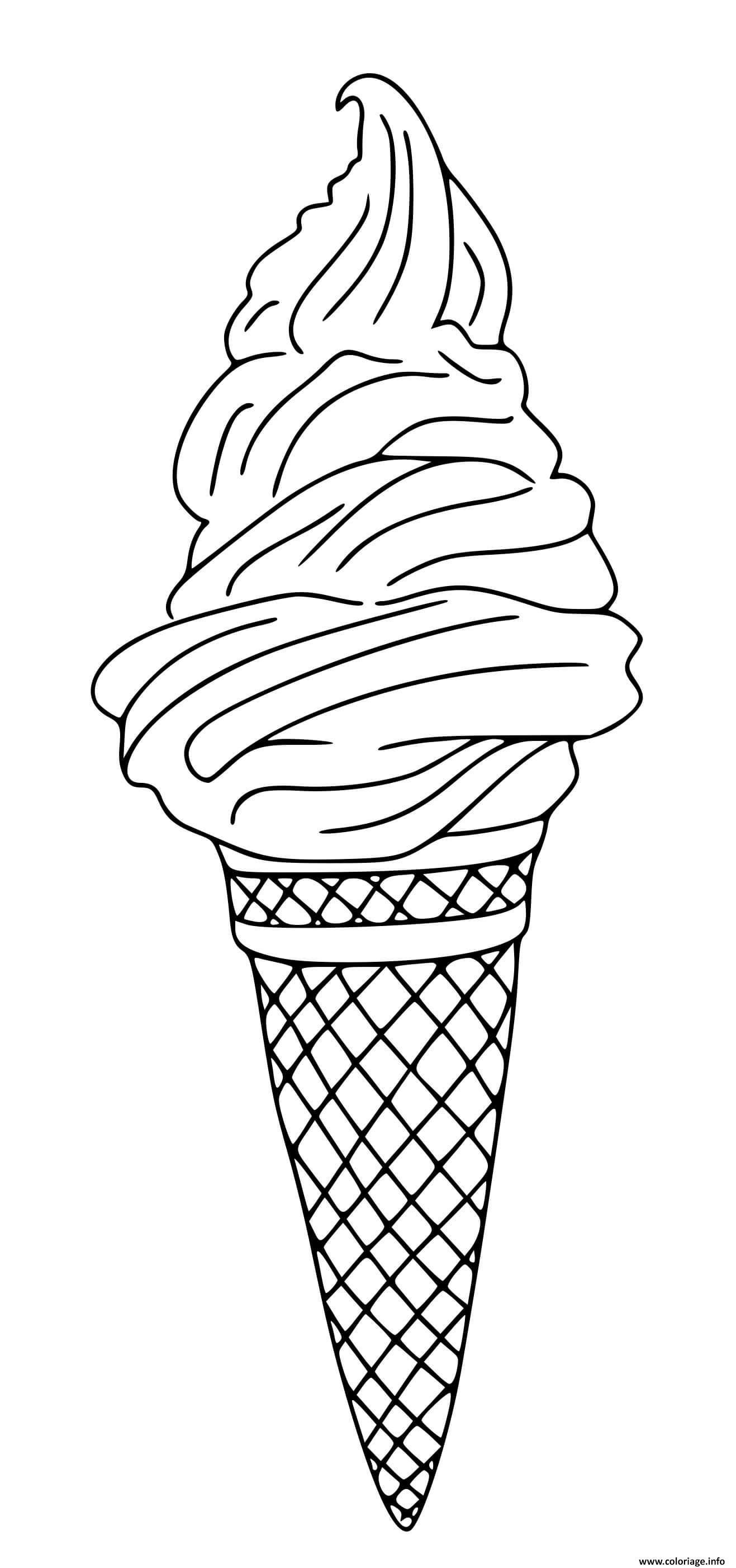 Dessin cornet de creme glace Coloriage Gratuit à Imprimer