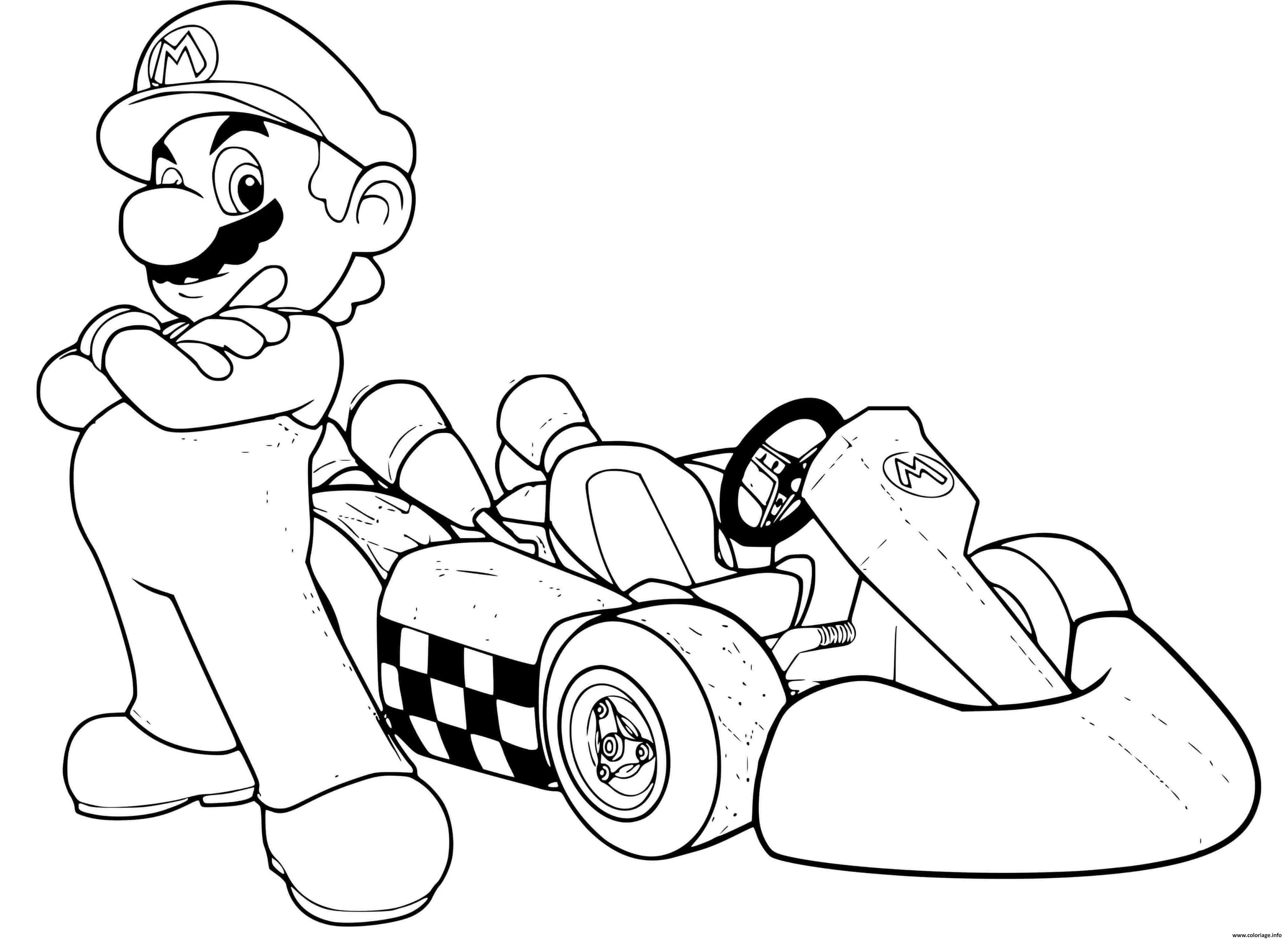 Coloriage Mario Voiture De Crouse Bros Dessin Mario Bros à imprimer