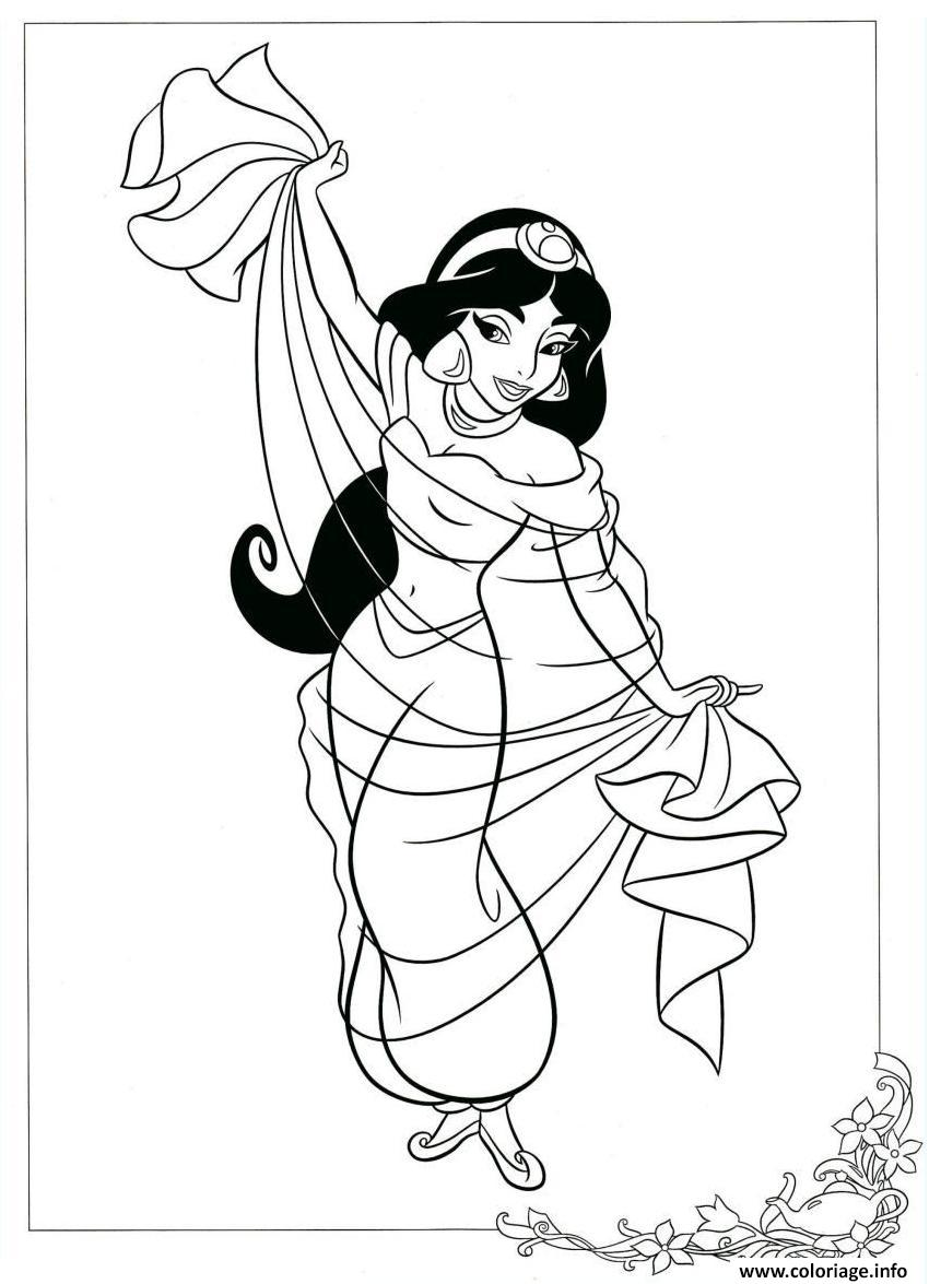 Coloriage Jasmine Fait Une Danse Baladi Dessin Jasmine à imprimer