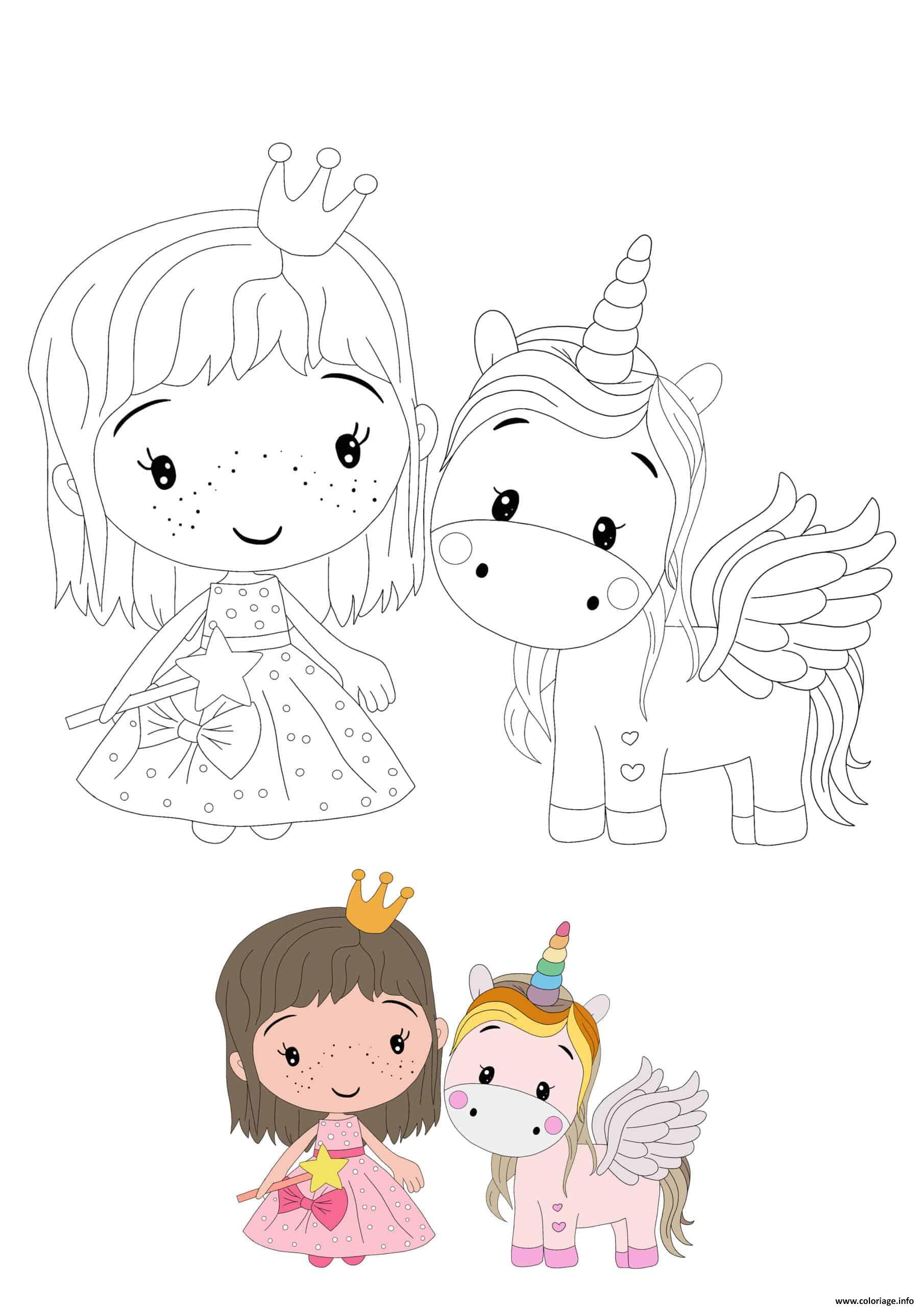 Coloriage Princesse And Licorne Jecolorie Com