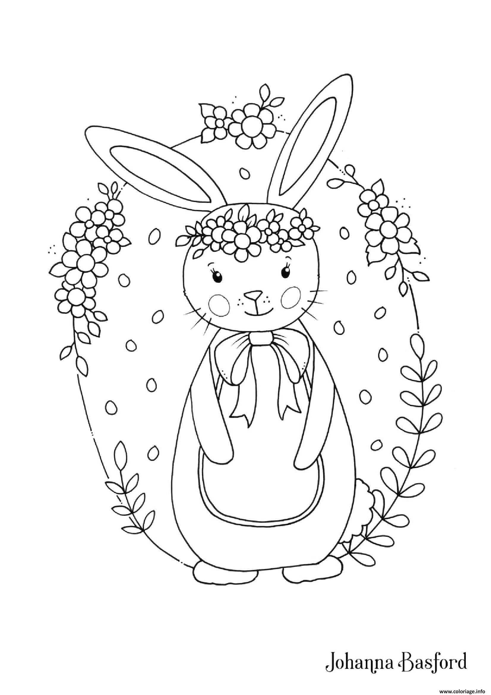 Coloriage Petit Lapin Adorable Pour Paques Enfants - JeColorie.com