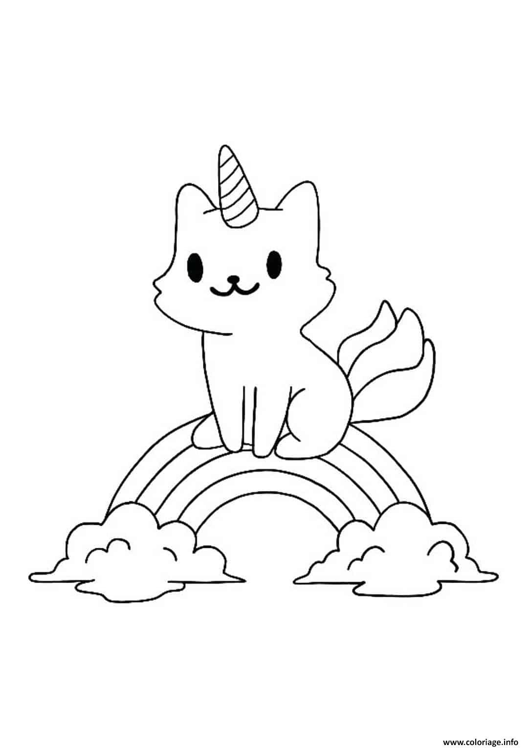 Coloriage Petit chat licorne et arc en ciel - JeColorie.com