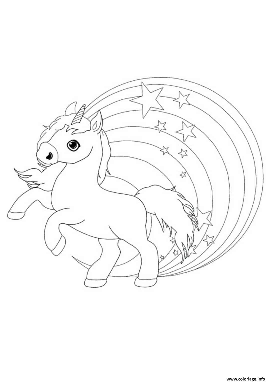 Coloriage Petit Licorne Mignon Arc En Ciel Dessin Licorne ...