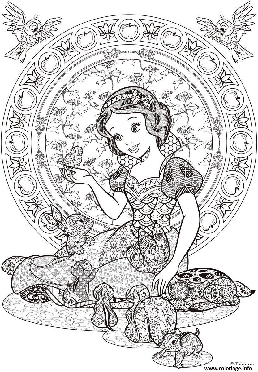 Coloriage Princesse Blanche Neige Disney Adulte Dessin ...
