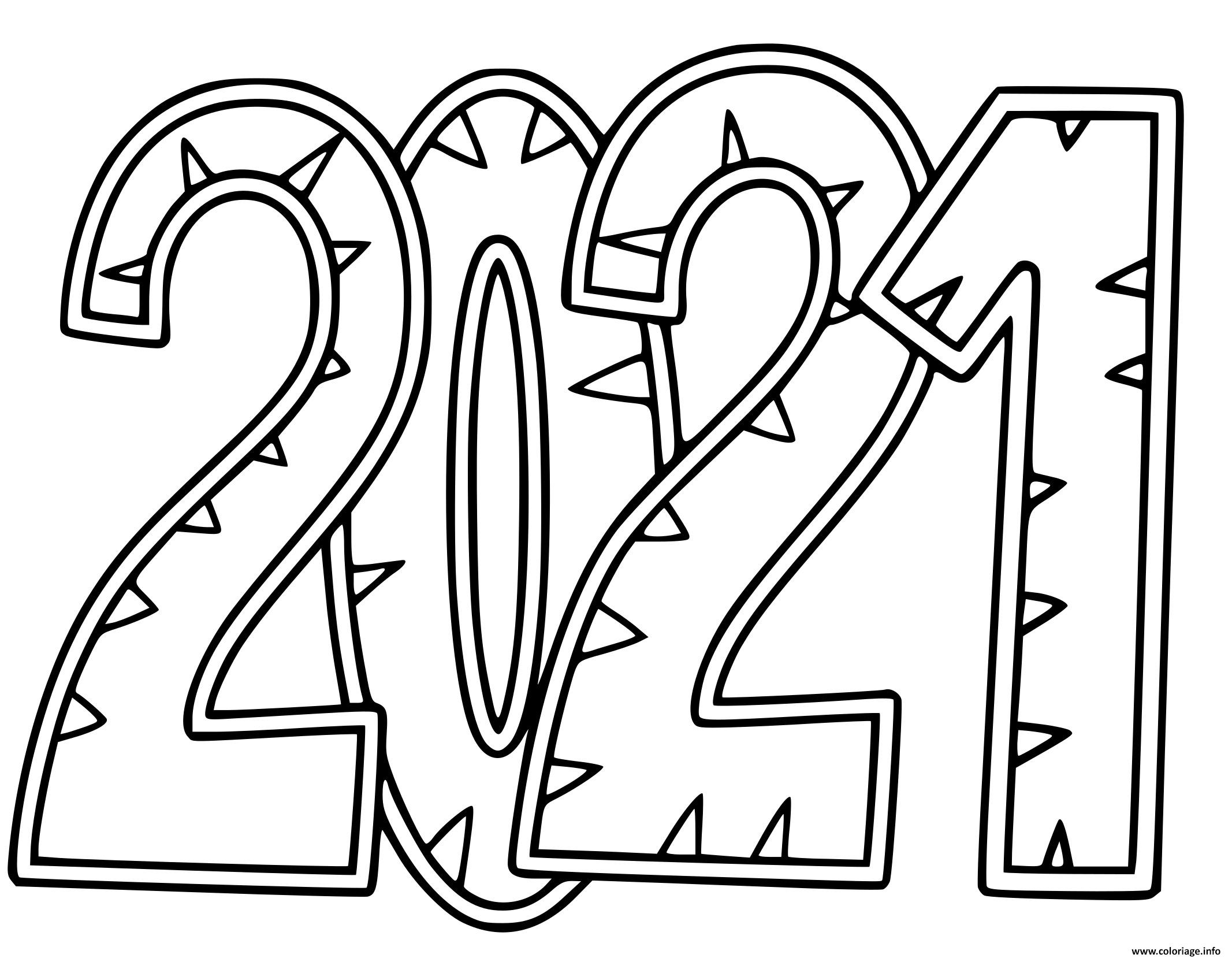Dessin bonne annee 2021 Coloriage Gratuit à Imprimer