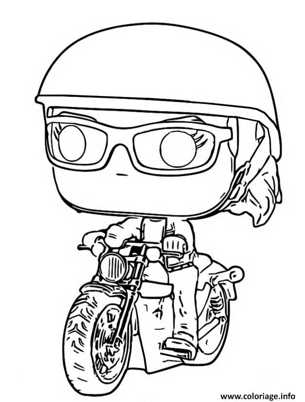 Dessin funko pop marvel carol danvers on motorcycle Coloriage Gratuit à Imprimer