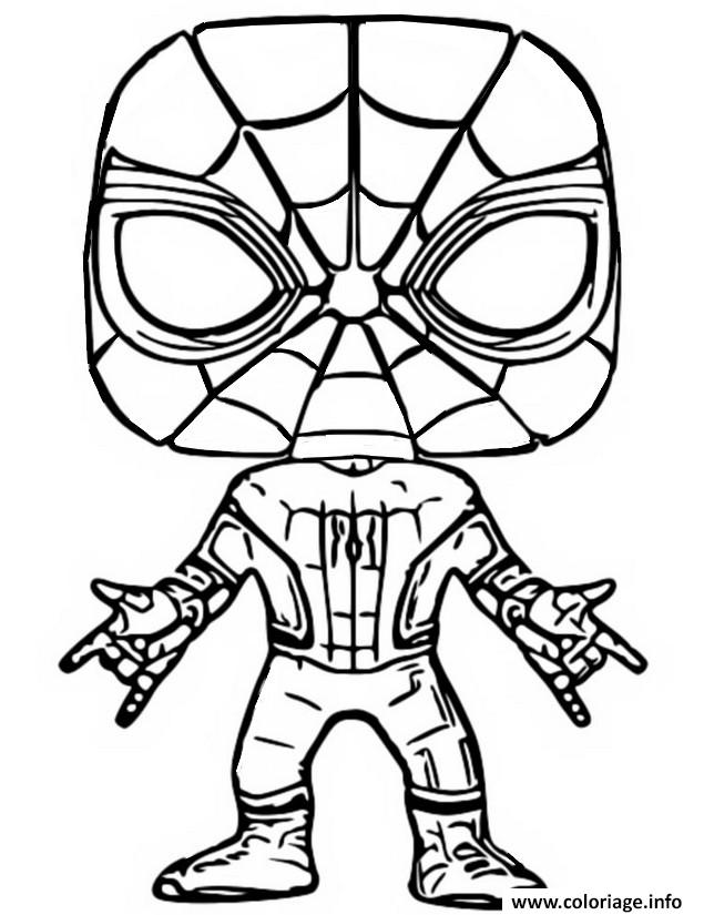 Dessin funko pop marvel spiderman Coloriage Gratuit à Imprimer