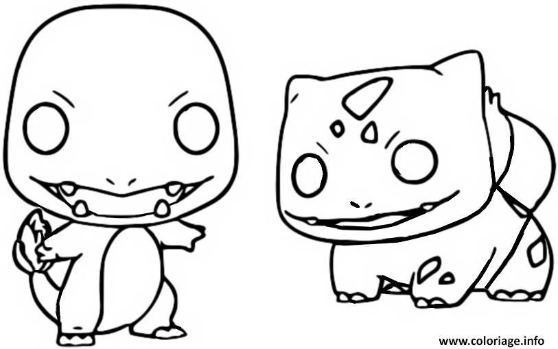 Dessin funko pop pokemon salameche bulbizarre Coloriage Gratuit à Imprimer