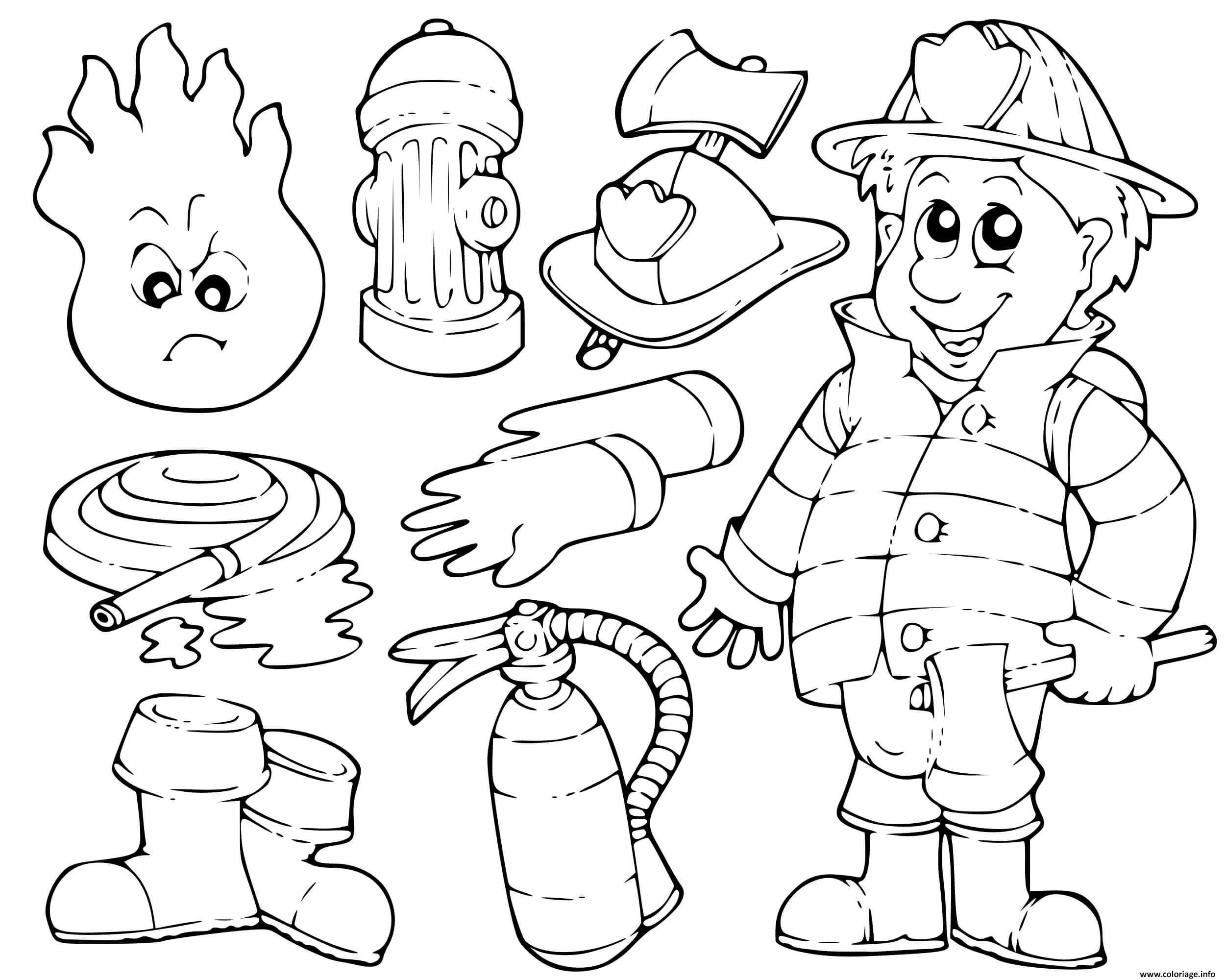Coloriage Imagier De Pompier Enfants Maternelle Dessin Pompier A Imprimer