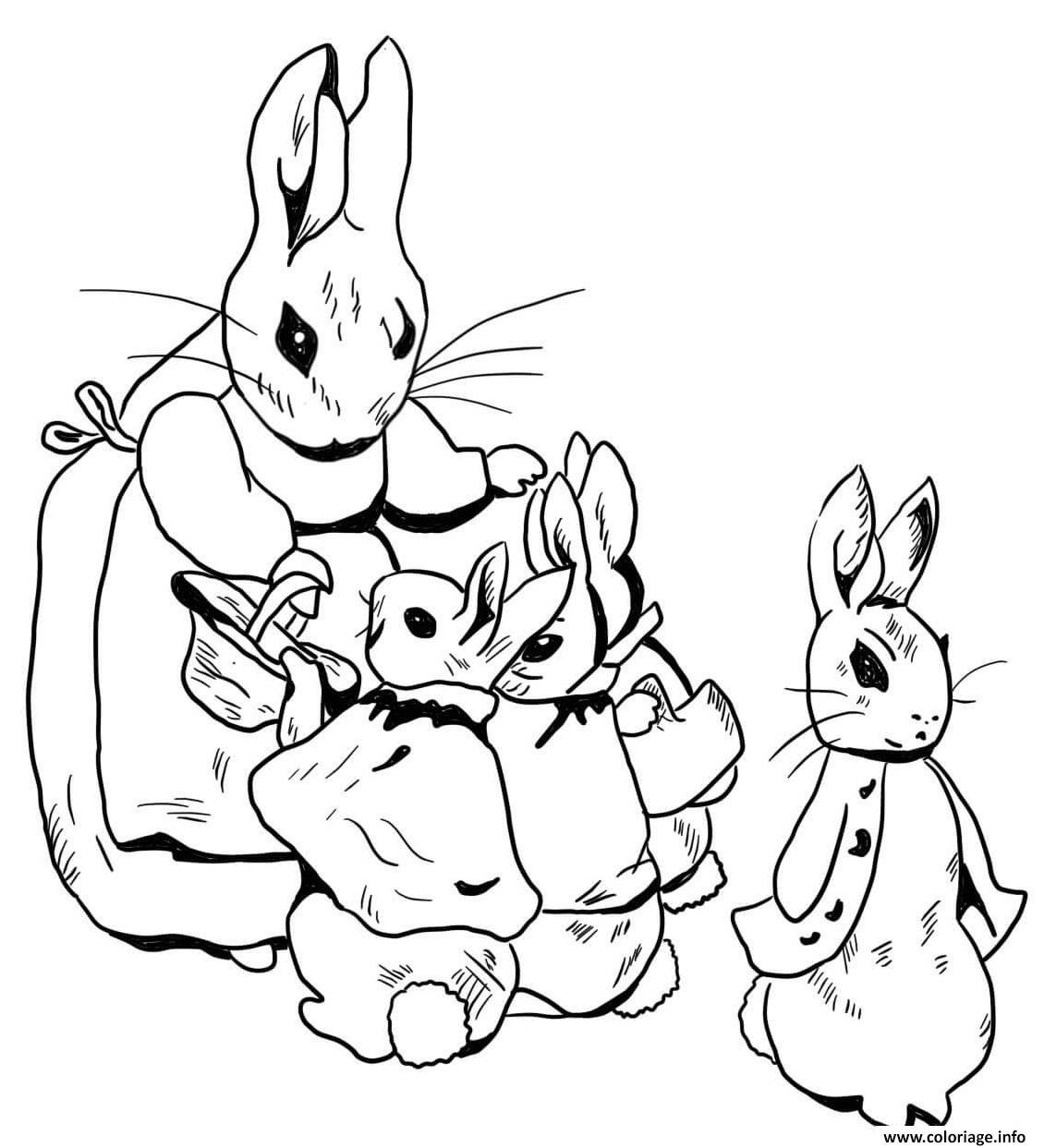 Dessin la famille de pierre lapin se prepare pour une marche Coloriage Gratuit à Imprimer