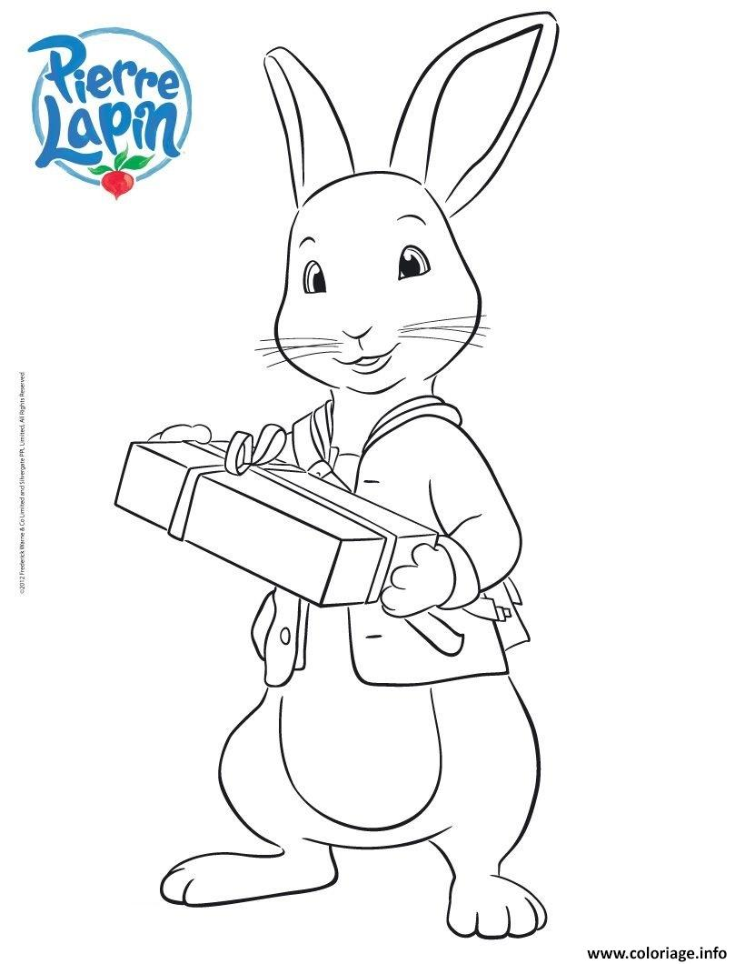 Dessin pierre lapin le petit lapin veut offrir un cadeau Coloriage Gratuit à Imprimer