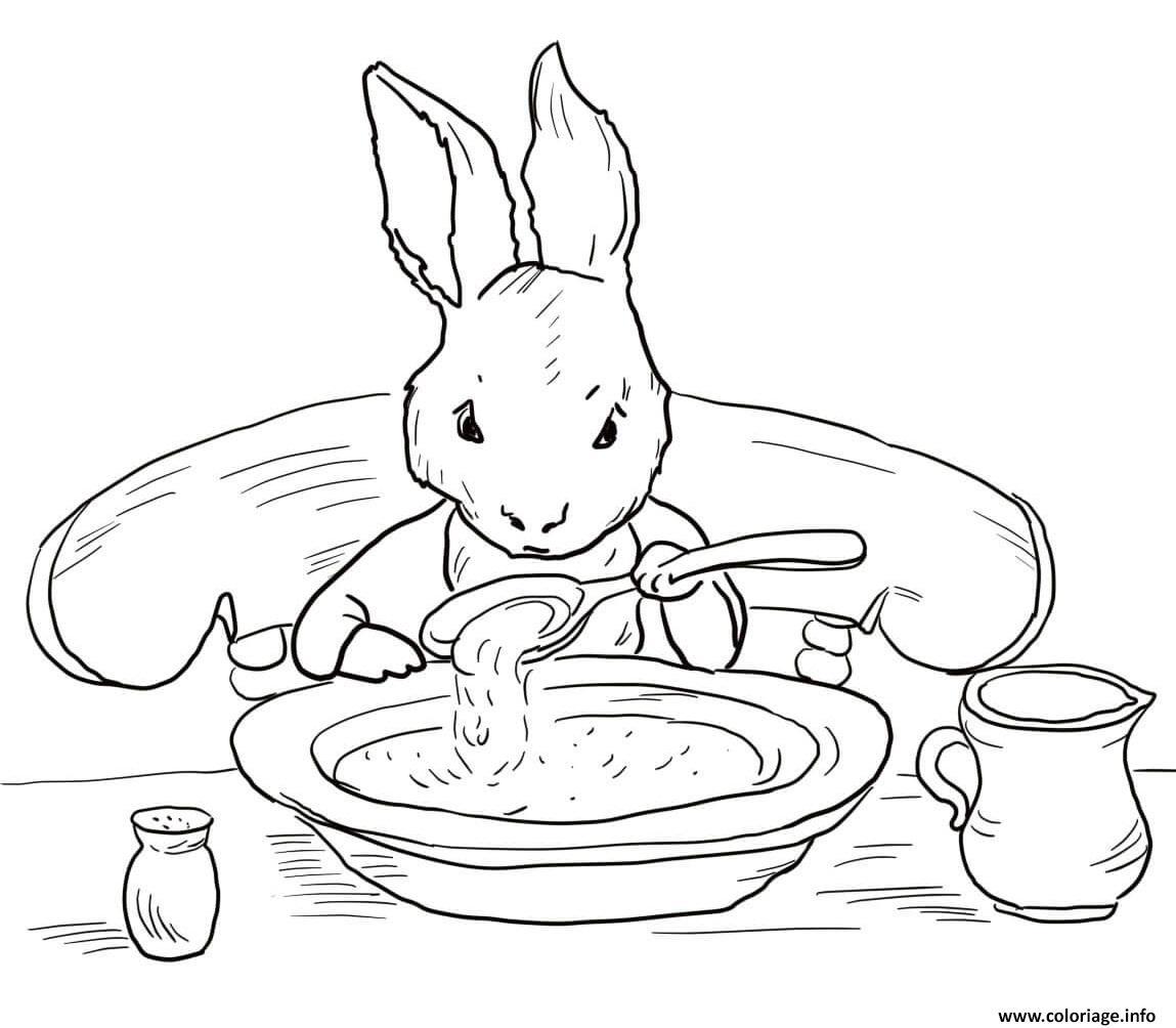 Dessin pierre lapin mange une soupe pour reprendre des forces Coloriage Gratuit à Imprimer